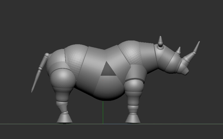 I started out with the zbrush z-sphere rhino base becasue why not, ya know?