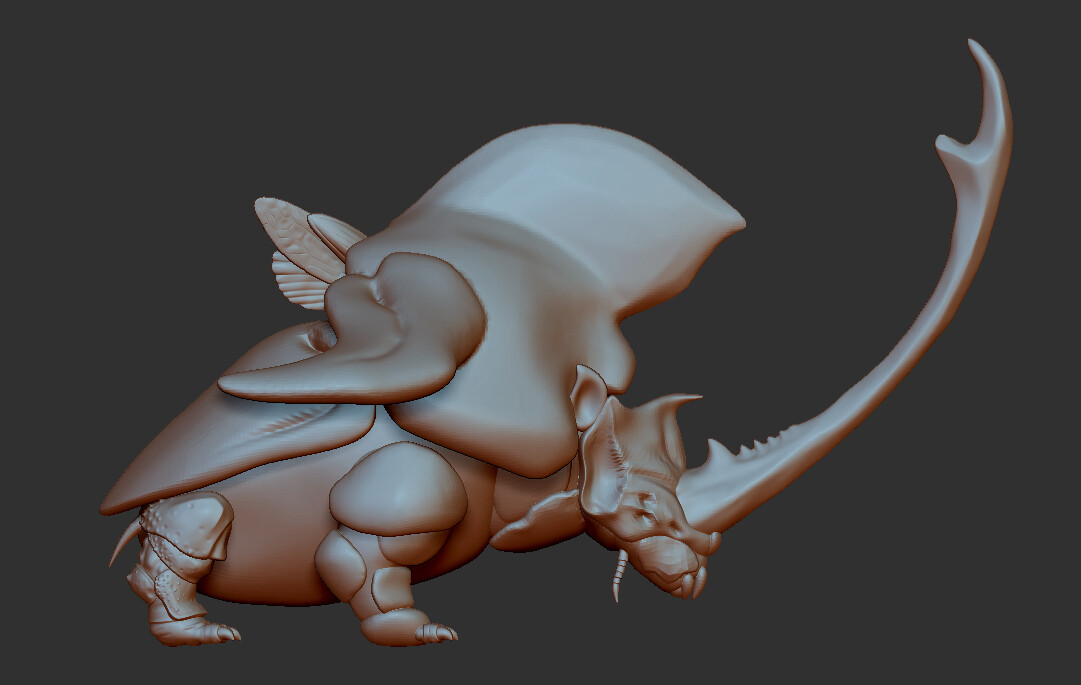 starting to sculpt in details one area at a time since the parts are all separated subtools