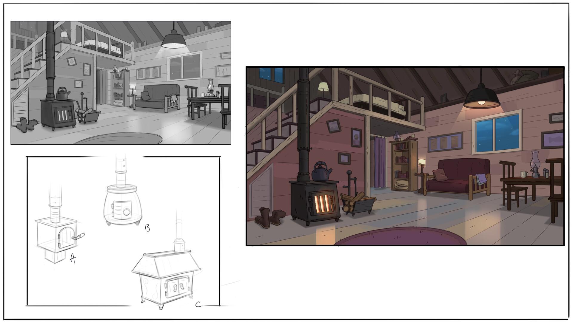 Initial tonal sketch + stove thumbnails