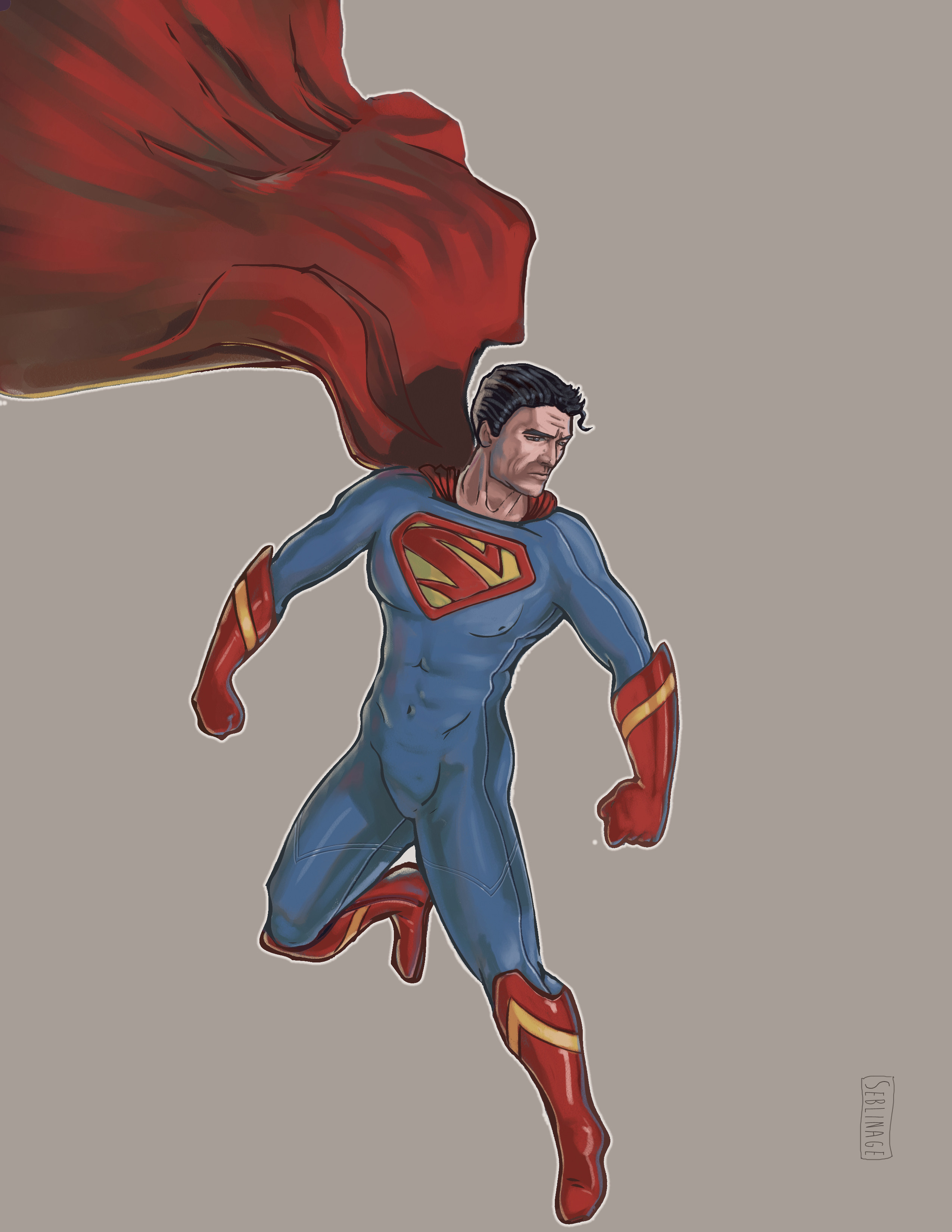 Superman costume variant. Pencil/Photoshop
