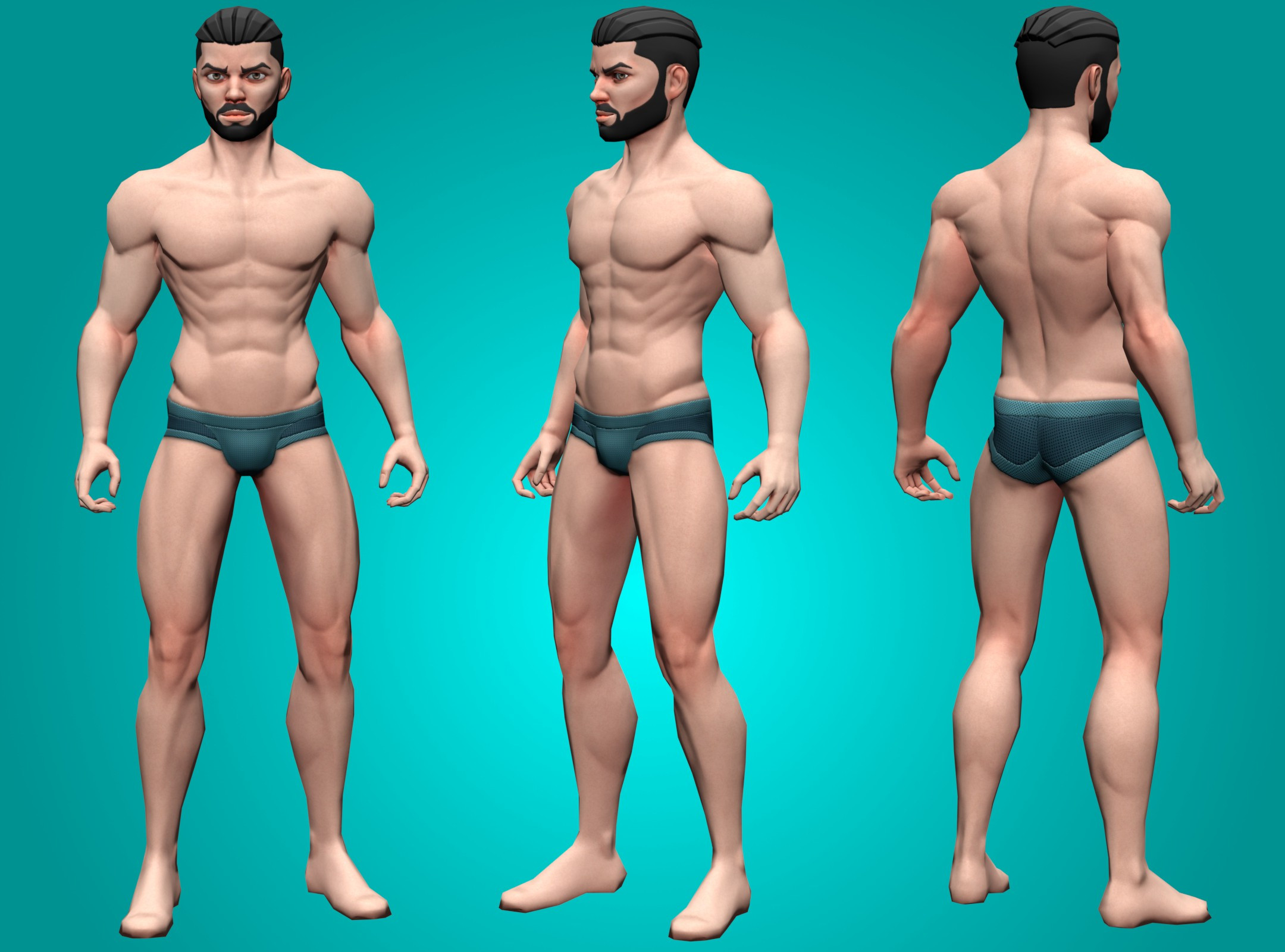 front, side, back, low poly male
