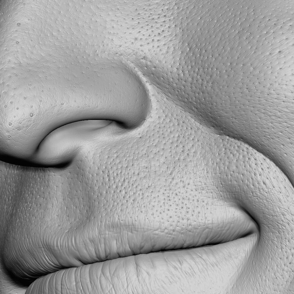 Pores and details added by hand
