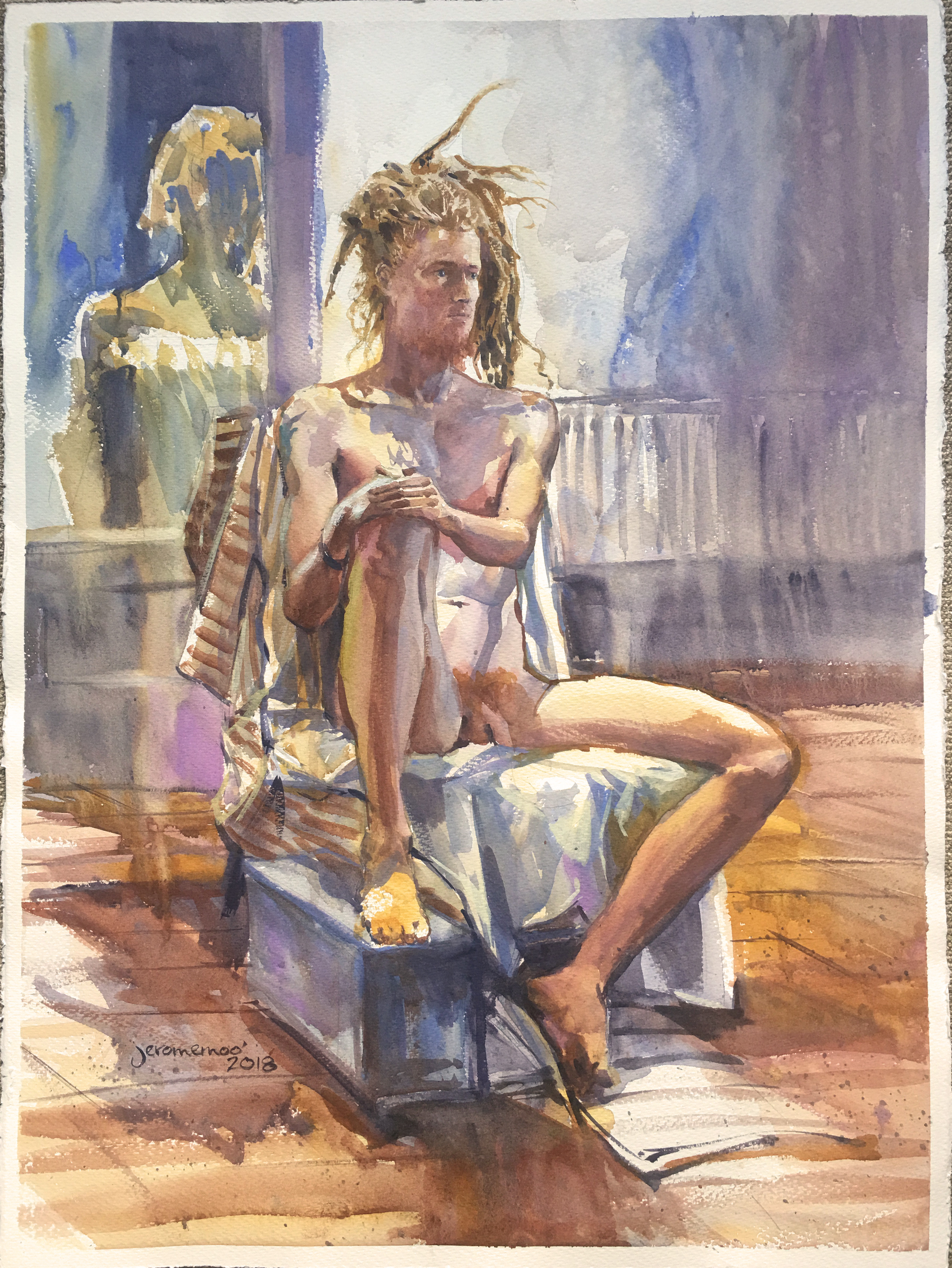 Long Pose Life Drawing of Liam  Watercolour on 56x76cm 425gsm Rough Saunders Waterford Watercolour Paper