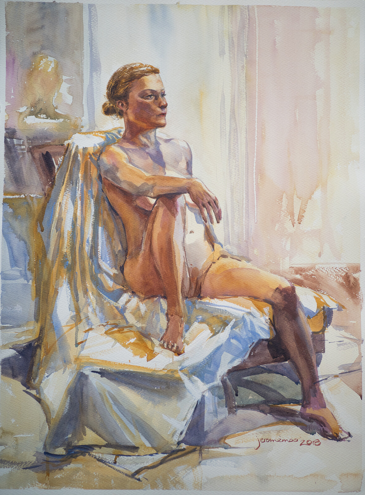 Long Pose Life Drawing of [Model Unknown]  Watercolour on 56x76cm 425gsm Rough Saunders Waterford Watercolour Paper