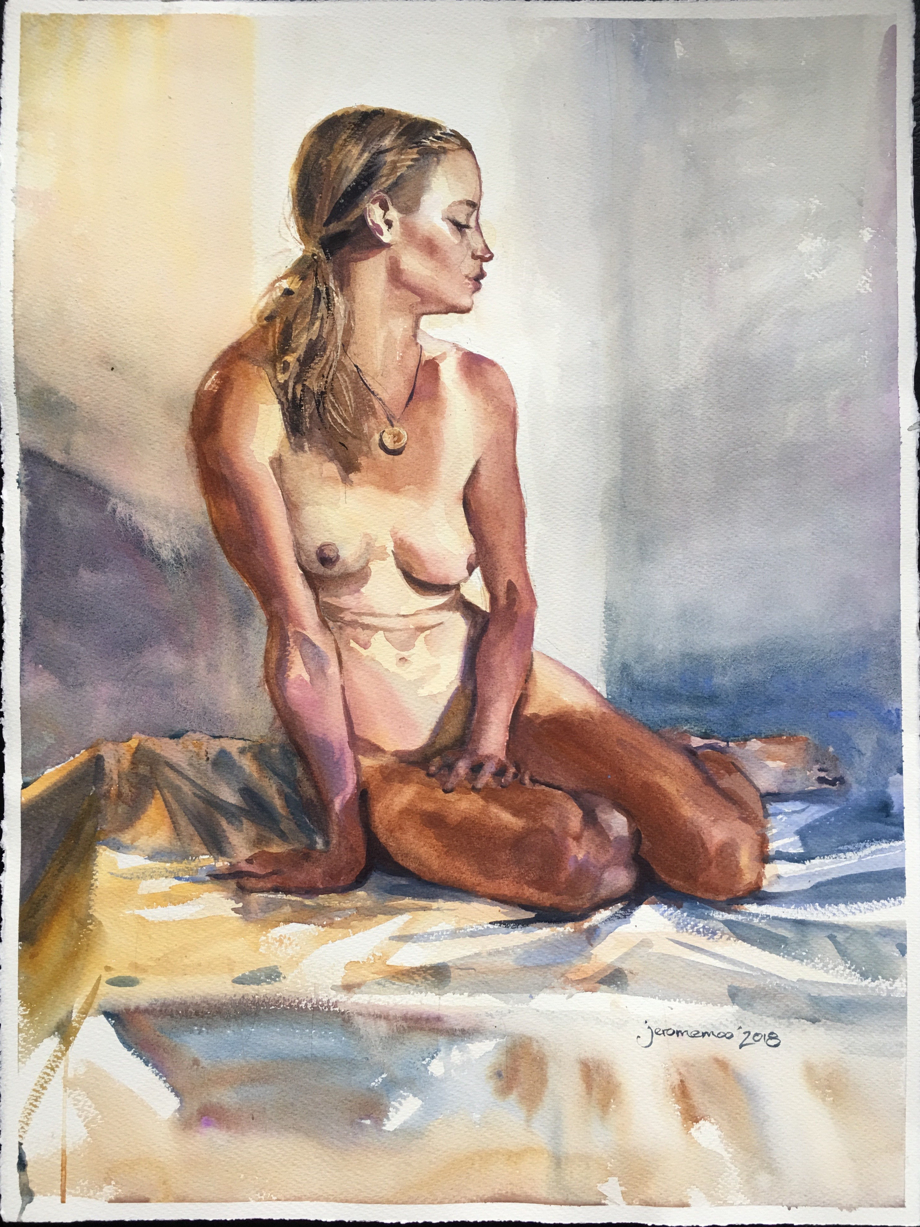 Long Pose Life Drawing of Jess  Watercolour on 56x76cm 425gsm Rough Saunders Waterford Watercolour Paper