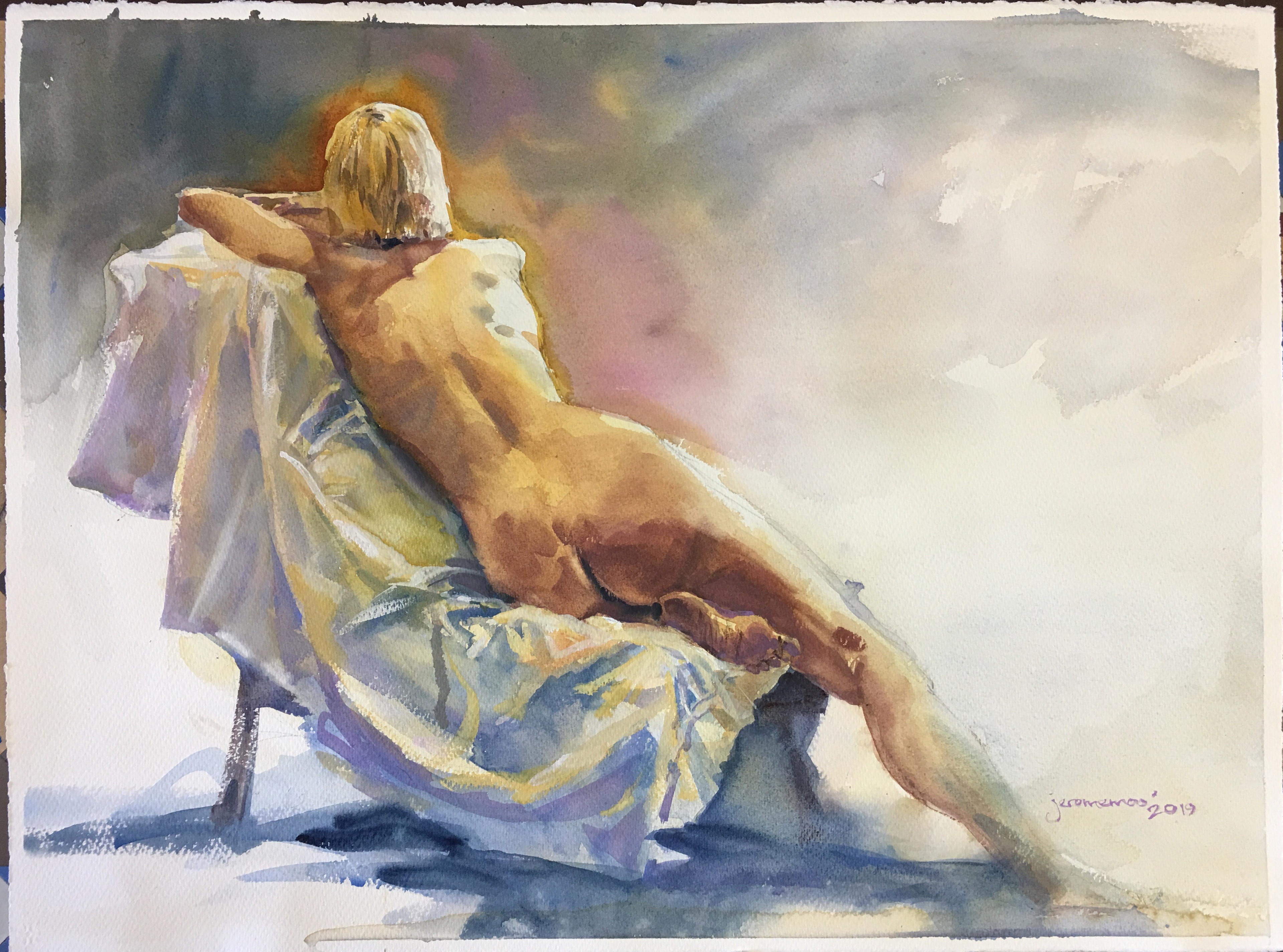 Long Pose Life Drawing of Bella  Watercolour on 56x76cm 425gsm Rough Saunders Waterford Watercolour Paper