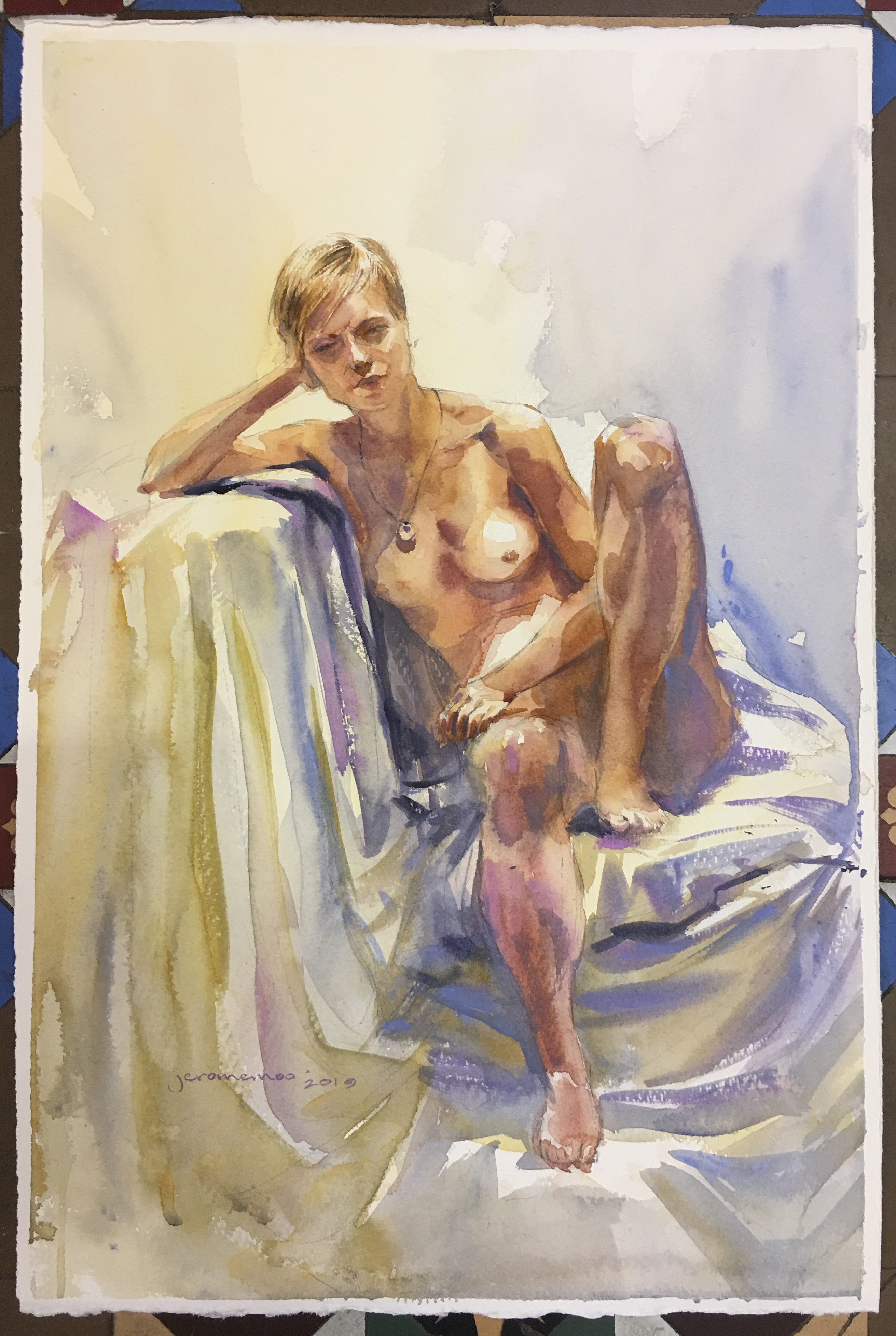 Long Pose Life Drawing of Jess  Watercolour on 28x38cm 425gsm Rough Saunders Waterford Watercolour Paper