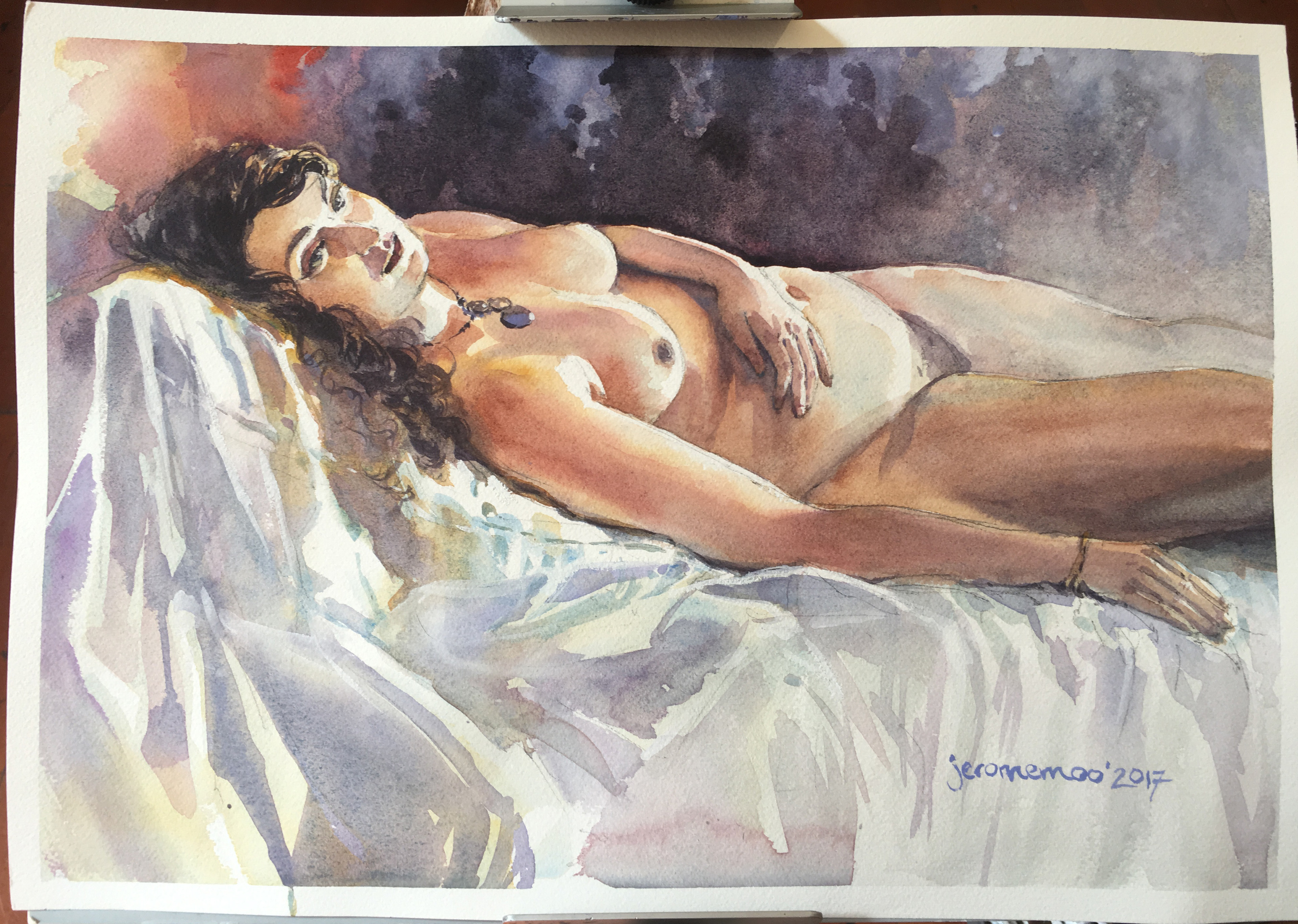 Long Pose Life Drawing of Marika  Watercolour on A3 Medium 300gsm Arches Watercolour Paper