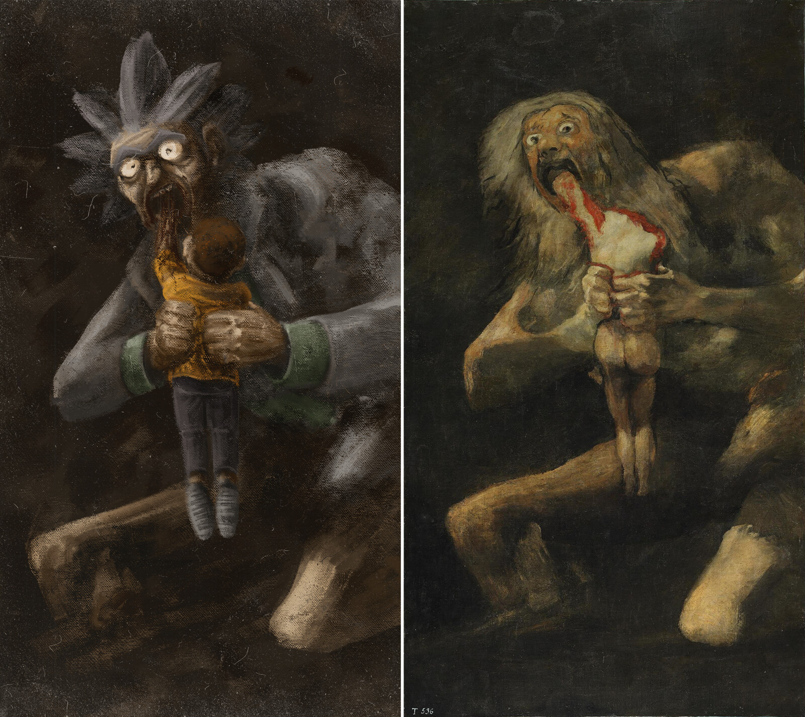 Just a homage to Francisco Goya and Rick & Morty series.