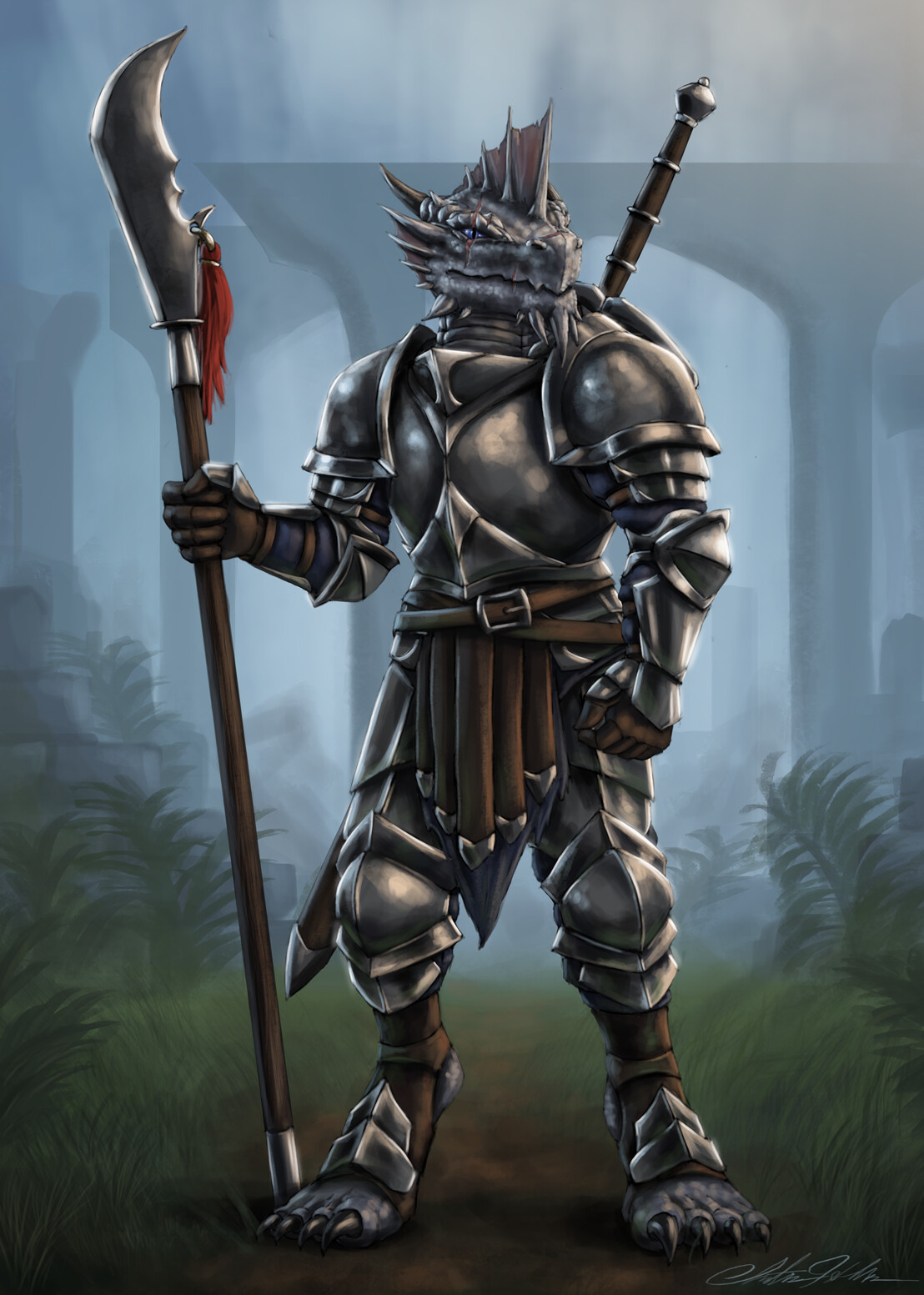 Christian hadfield marcrath cluuldrur the silver dragonborn fighter by christian hadfield lowrez