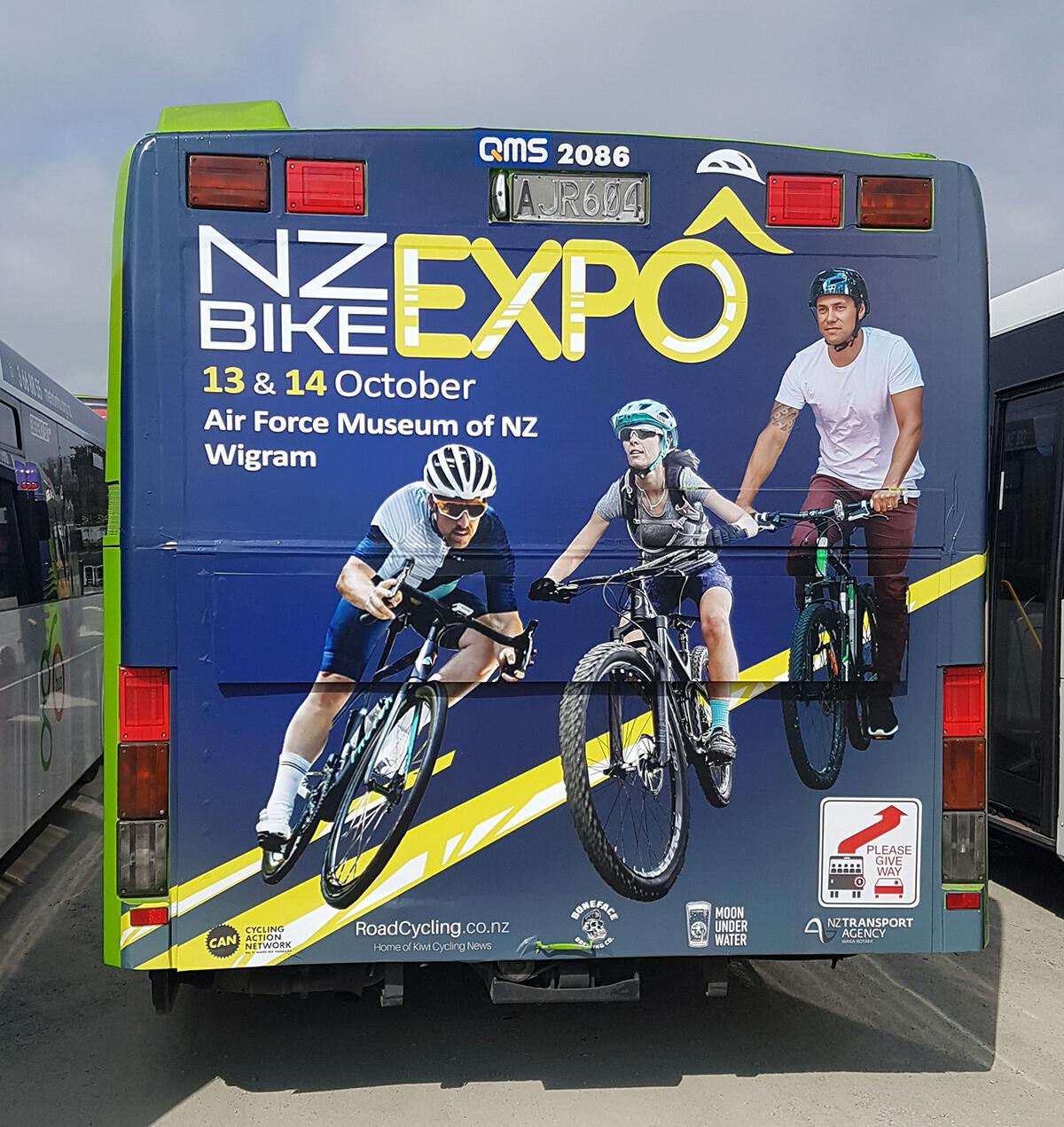 NZ Bike Expo Back of Bus Advertisement