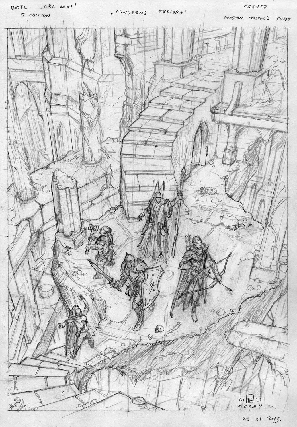 "sketch for the painting ""Dungeons Explore"" (D&D Next 5 Edition, Dungeons Master Guide), Wizards of the Coast 