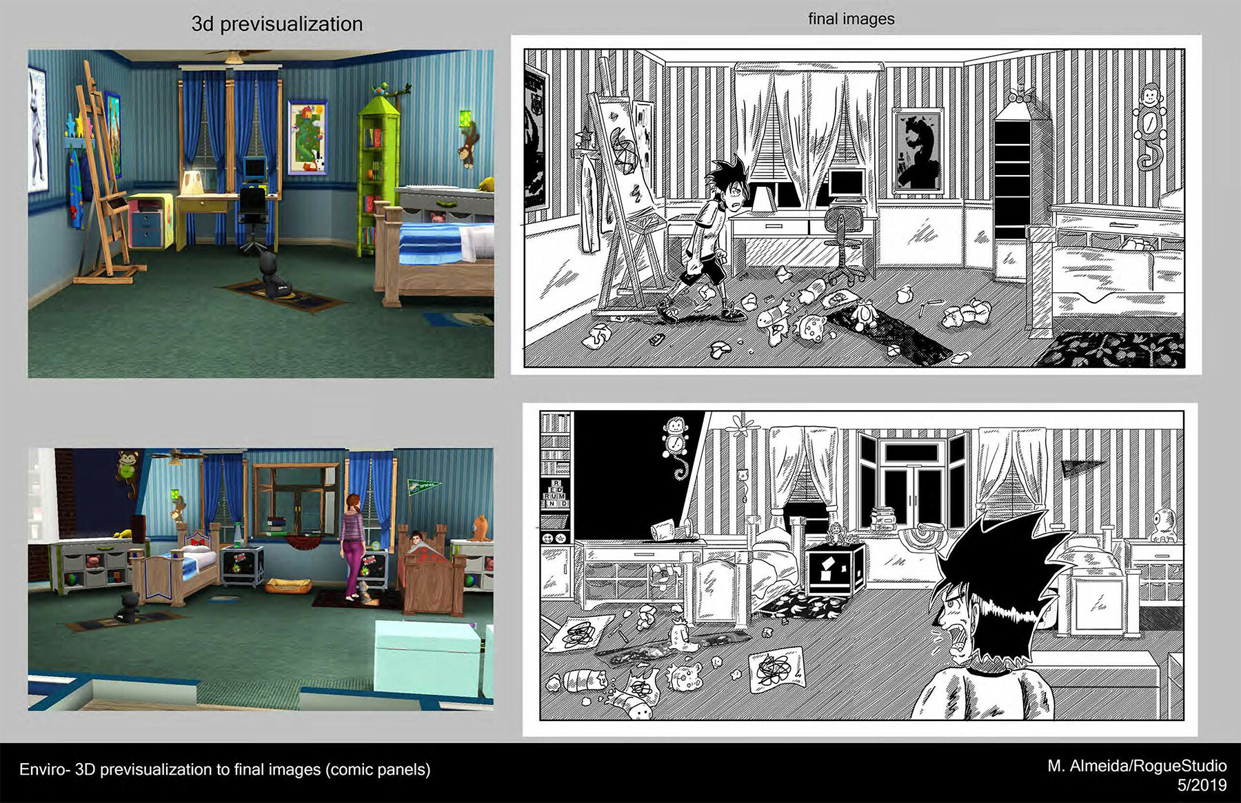Previsualization using 3D assets for RF #4, with side by side of final art