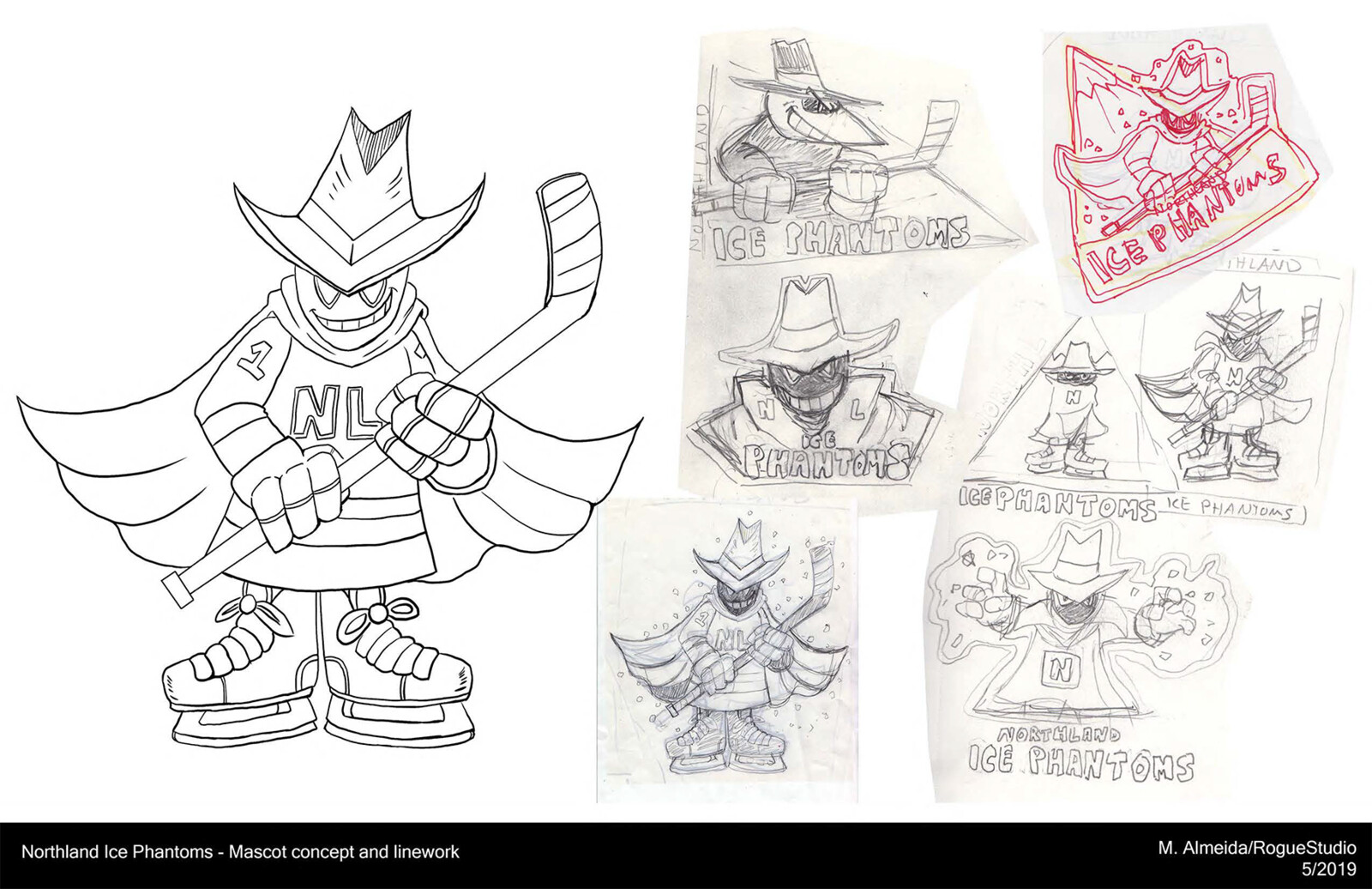 Mascot concept exploration and linework, traditional and Illustrator