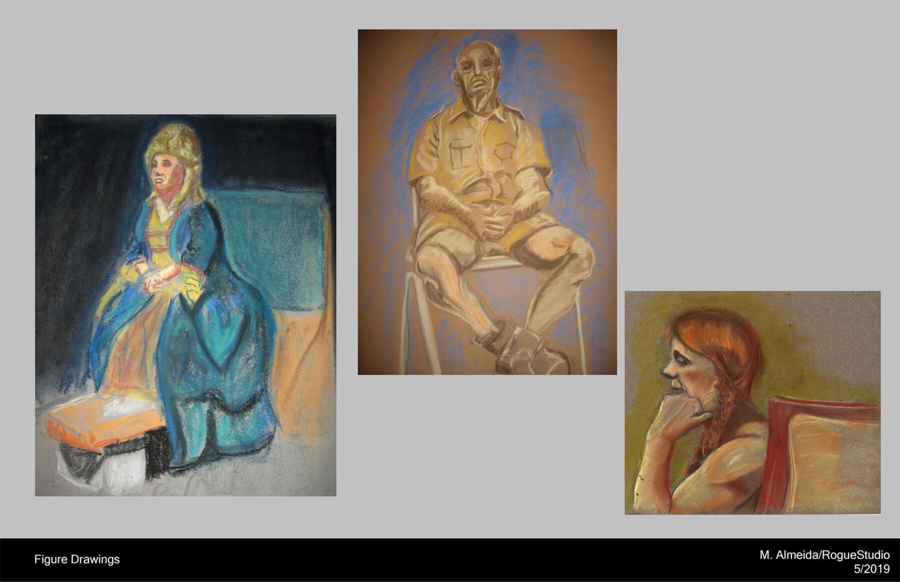 Figure Drawings Medium: Pastel and graphite