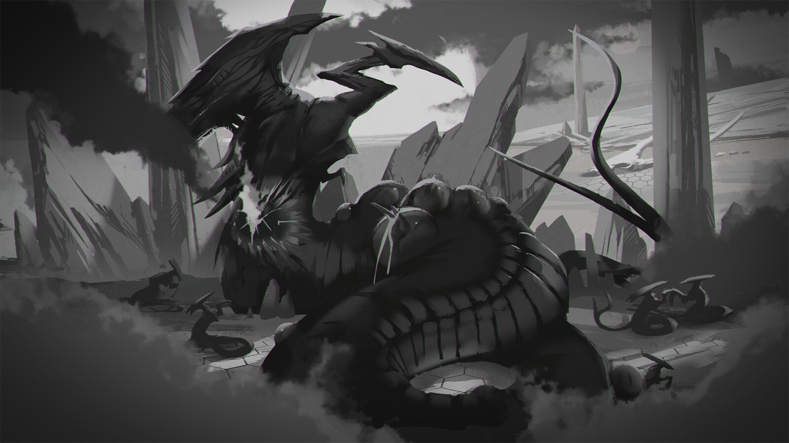 Black and white render