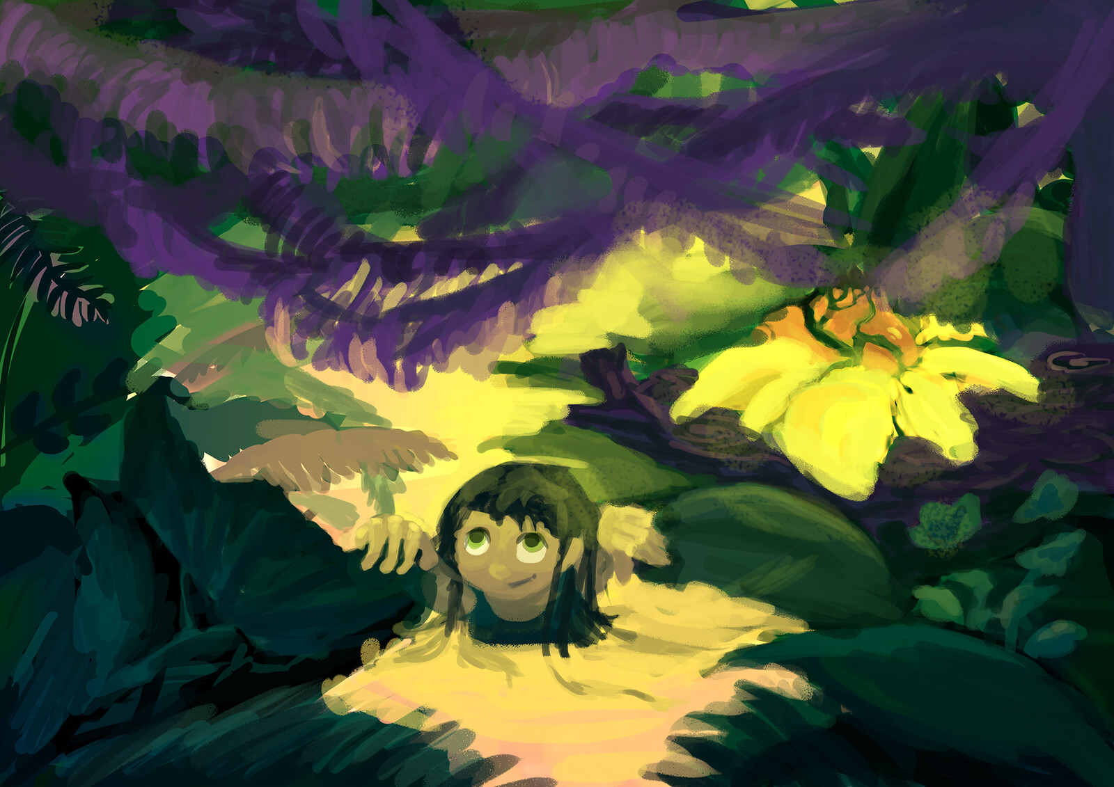 A girl going through the jungle (one of sketches for early Jimmy game)