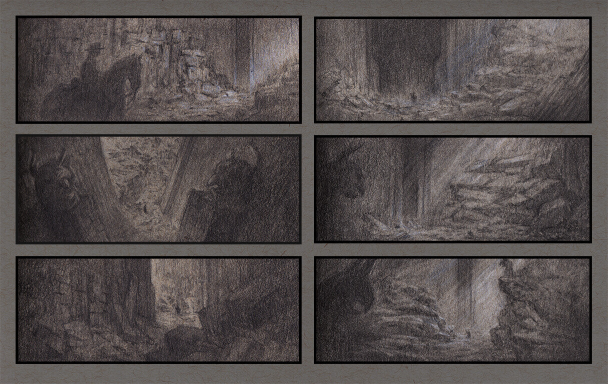 Thumbnails from the sketchbook, working out composition and lighting.