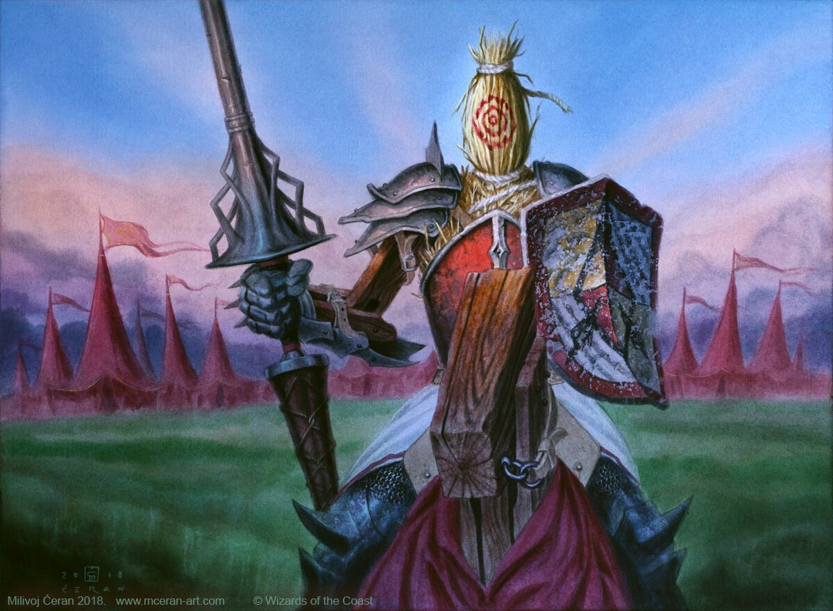 """""""Jousting Dummy"""" Milivoj Ćeran 2018. - 33 x 45 cm (13 x 17,7 inches) - acrylic on paper - © Wizards of the Coast - AD Cynthia Sheppard  - Magic the Gathering, Throne of Eldraine"""