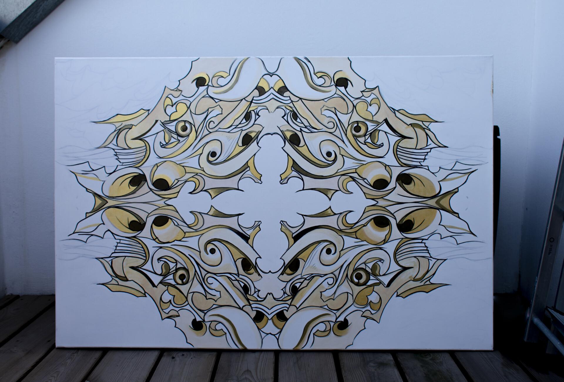Ornamental White/Black/Gold