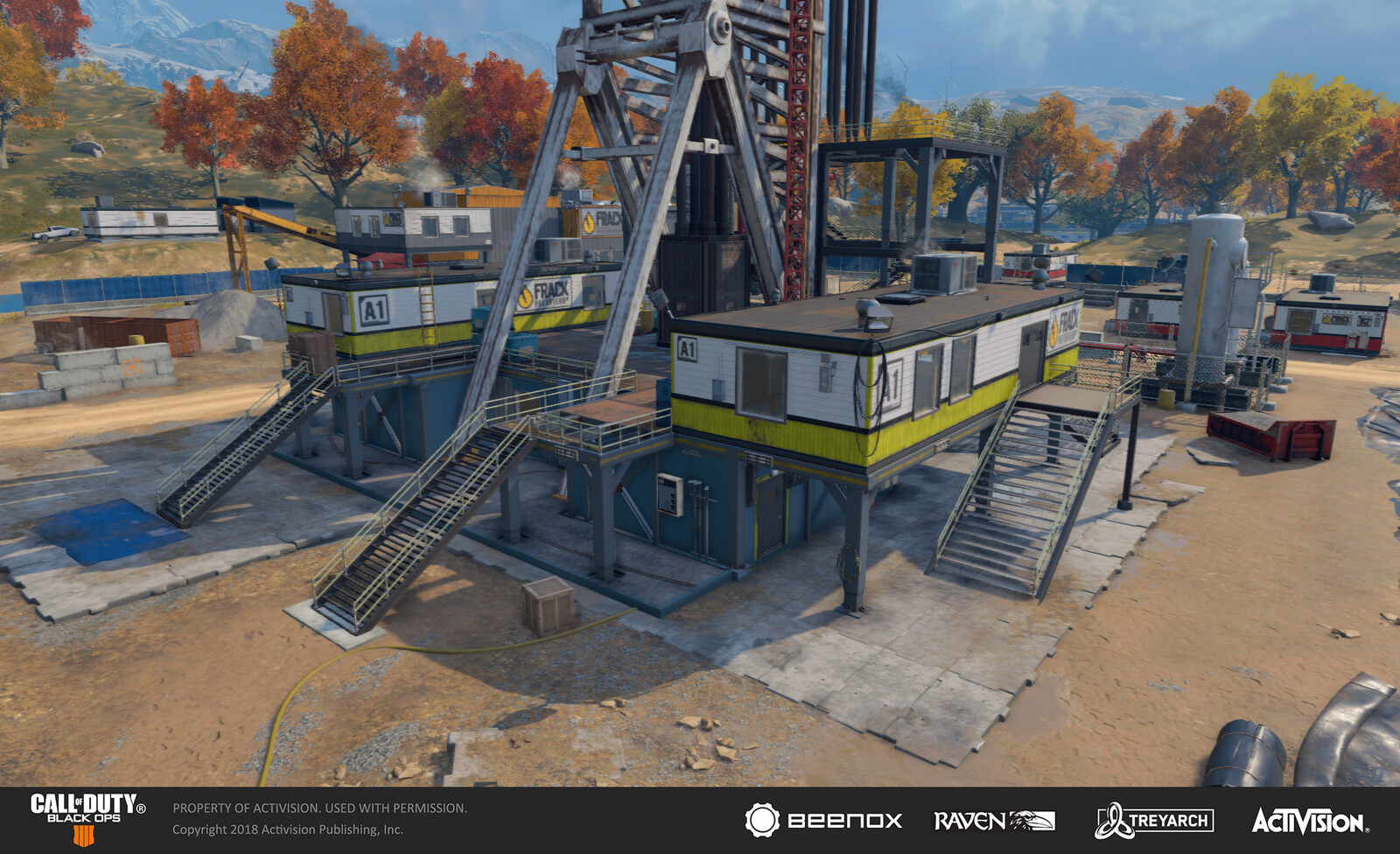 Overview of the main fracking rig in Blackout Mode. I worked on metallic beamwork and surface treatment of the platforms by configuring existing materials /models. I also bolstered the tall ladder by configuring a variety of existing models and textures.