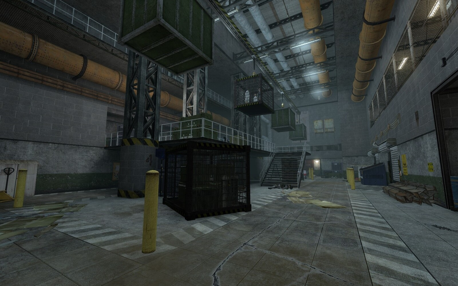 Two large scale warehouse rooms were required. These rooms would be used many times through out the map as the player would be looping back to them.