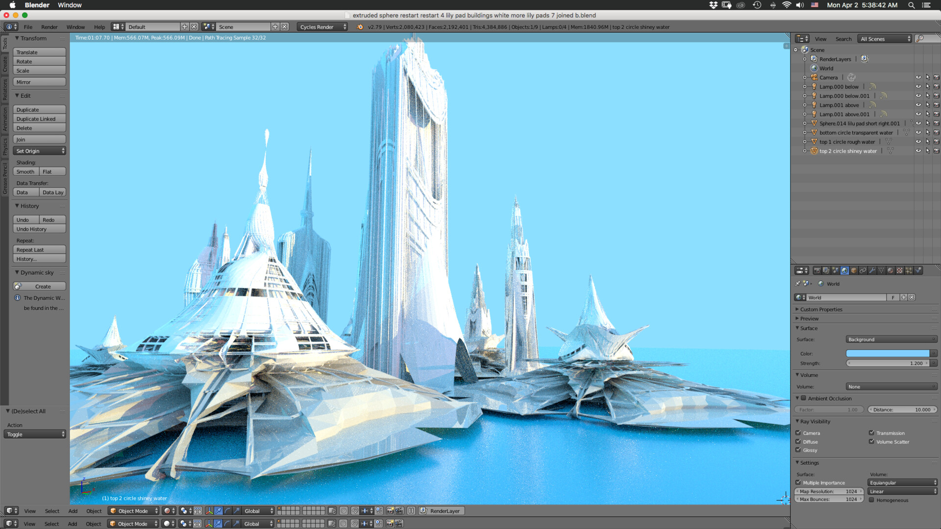 Blender Lily Pad Floating City different POV