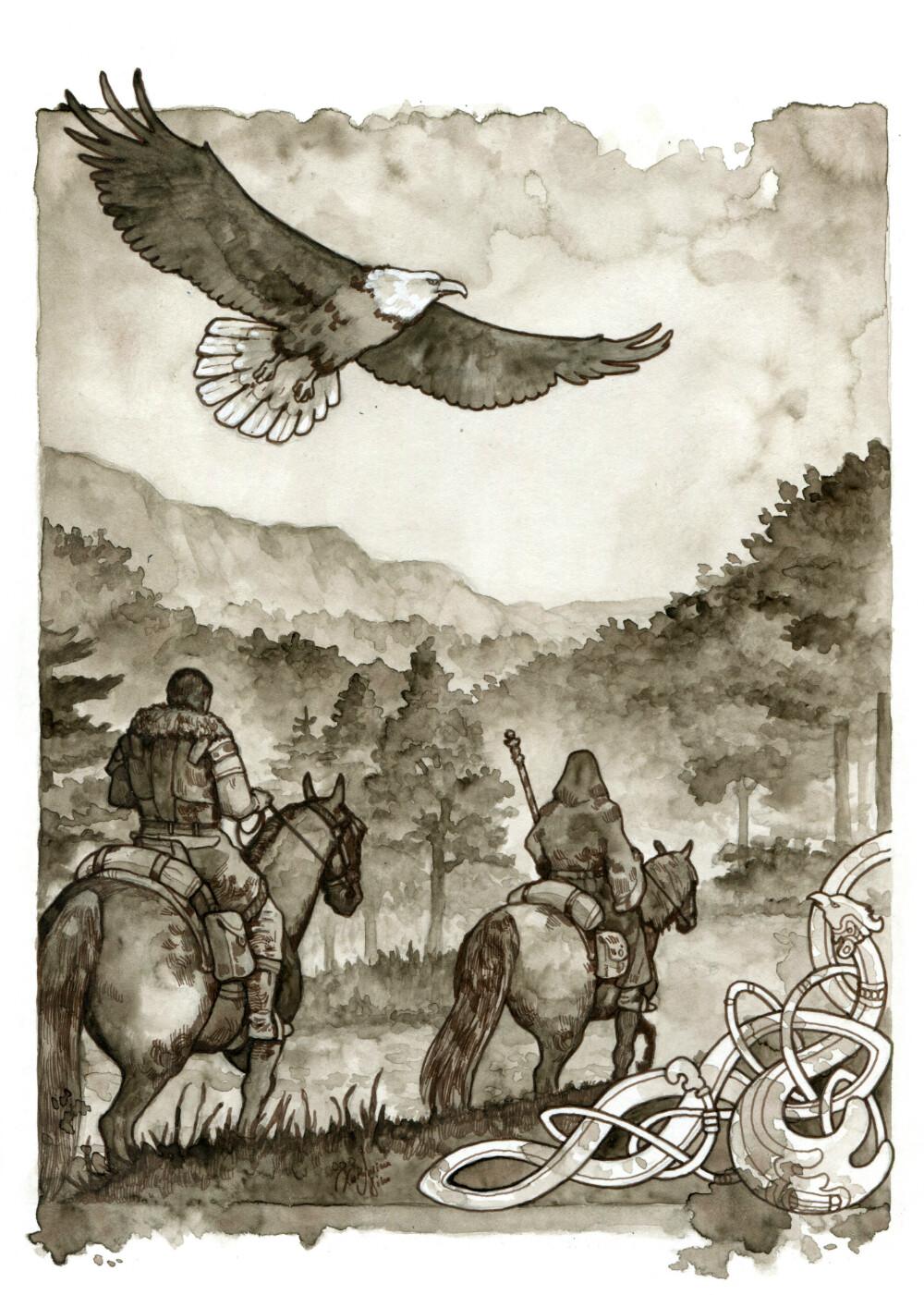 The magician follows the travelers as an eagle