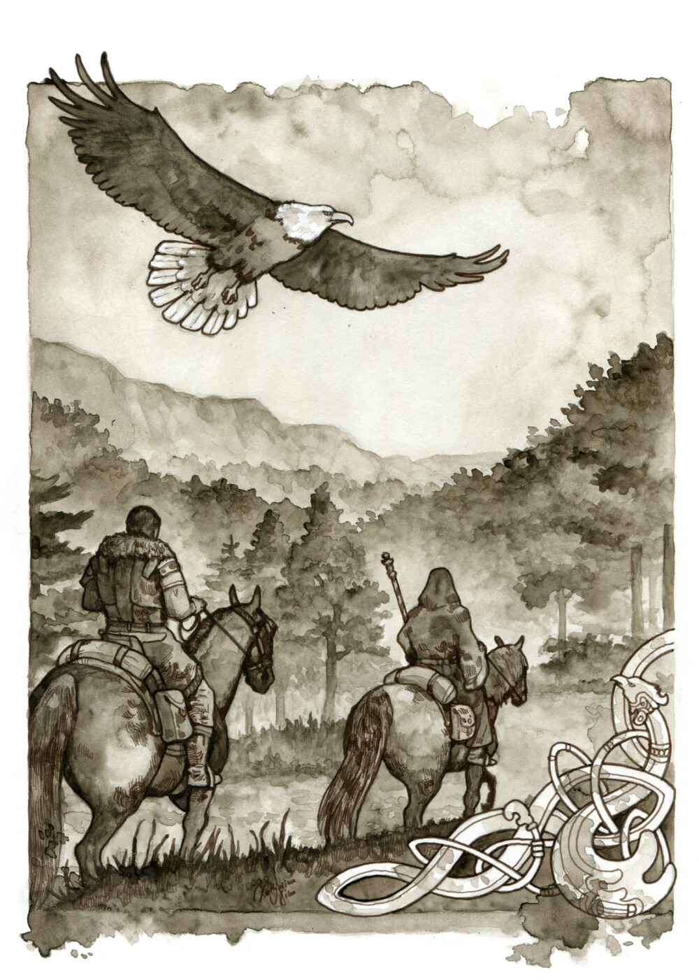 The magician follows the travelers as an eagle