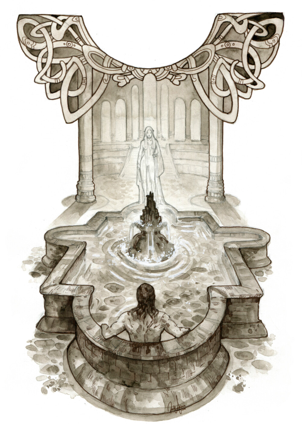 Beorn and Pardona at the well