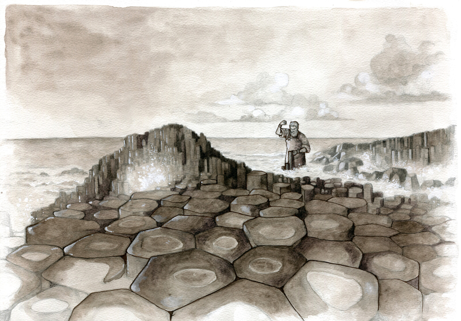 First scene: Fionn is building the causeway to get to Benanndonner.
