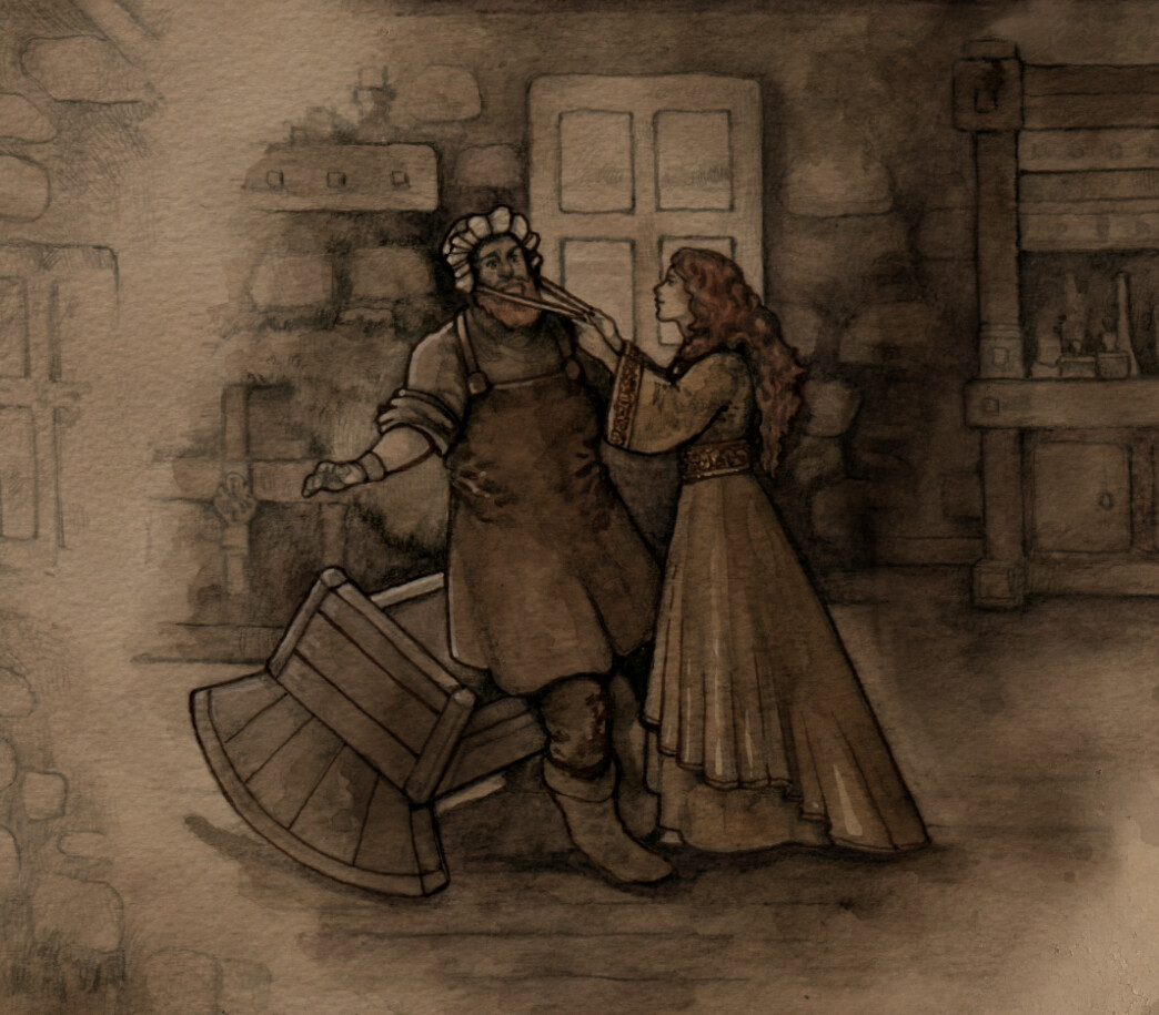 Snippet of the finished scene with Fionn and his wife