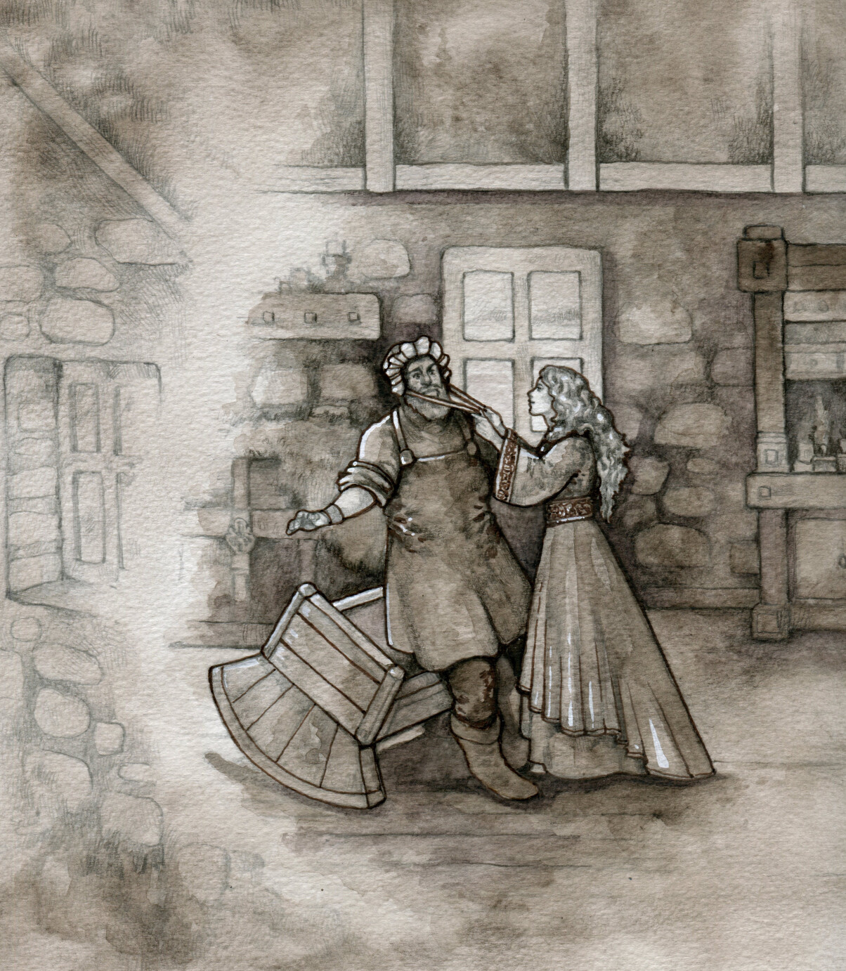 Fourth scene snippet: Fionn getting dressed as baby for the trick his wife constructed to scare Benanndonner away