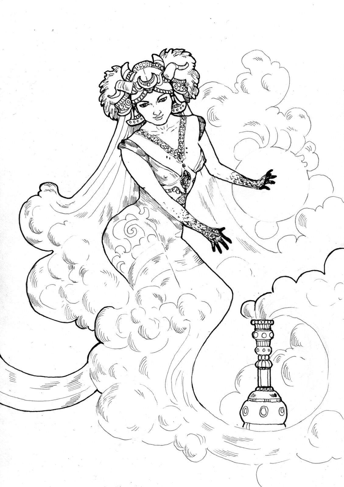 "Linework of the card ""The Genie"""