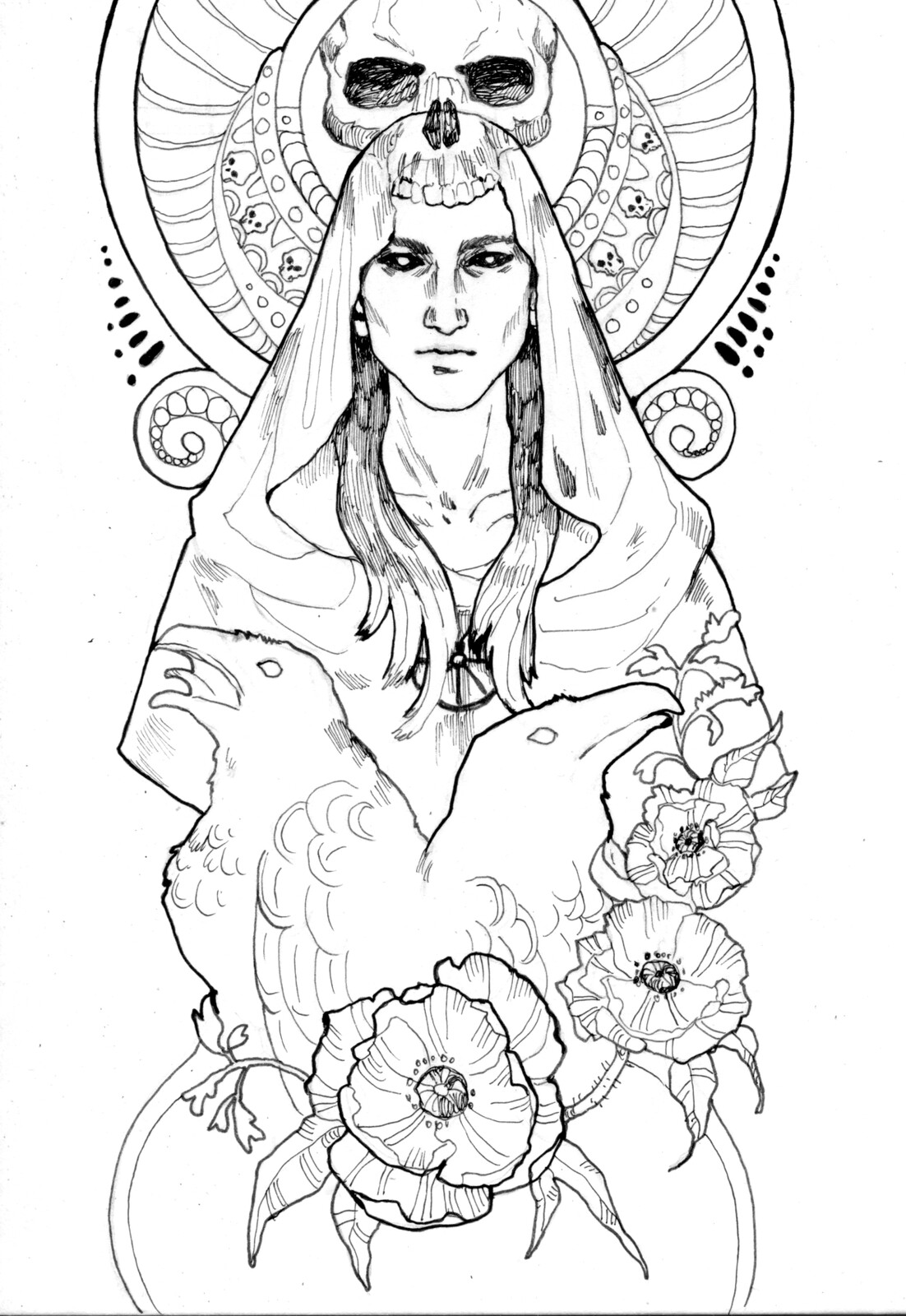 "Linework of the illustration on the card ""Death"""