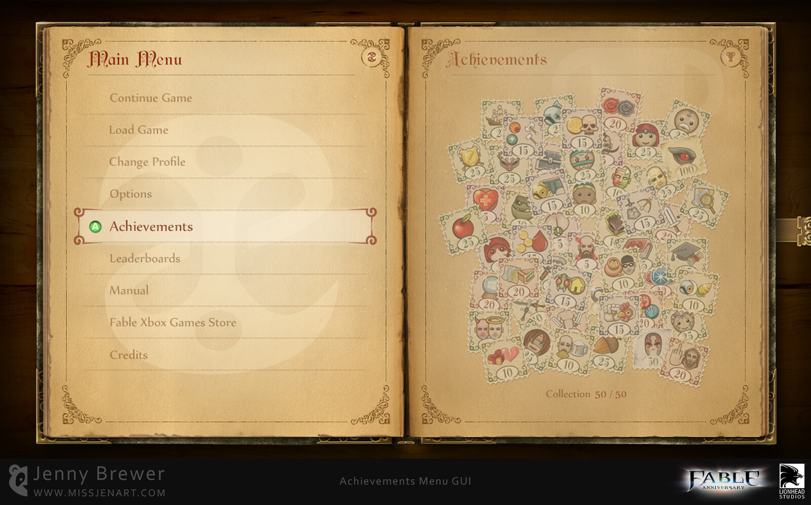 The achievements are presented as a stamp collection album within the book themed game menus.