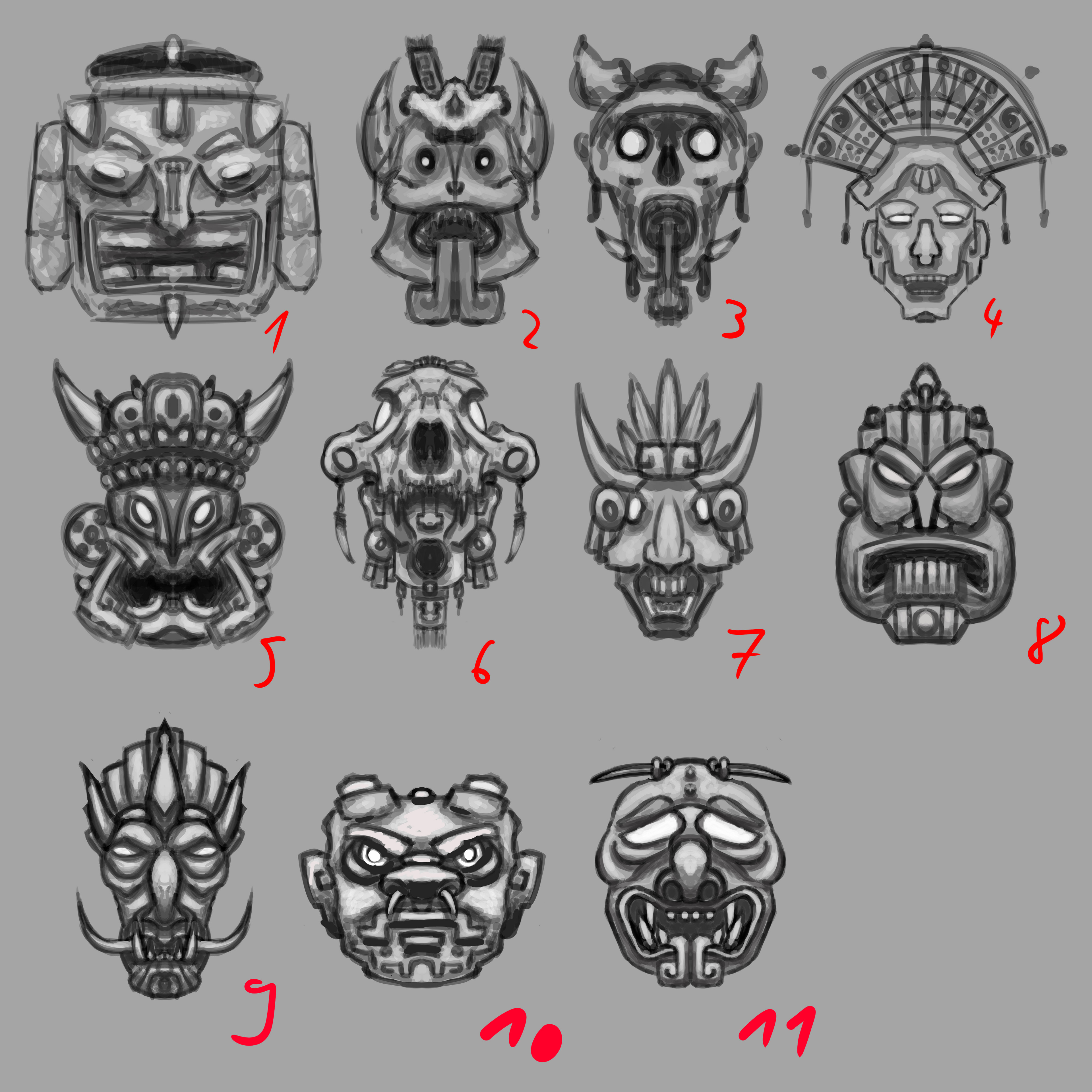 Mask Thumbnails for ideation and different kinds of golems.