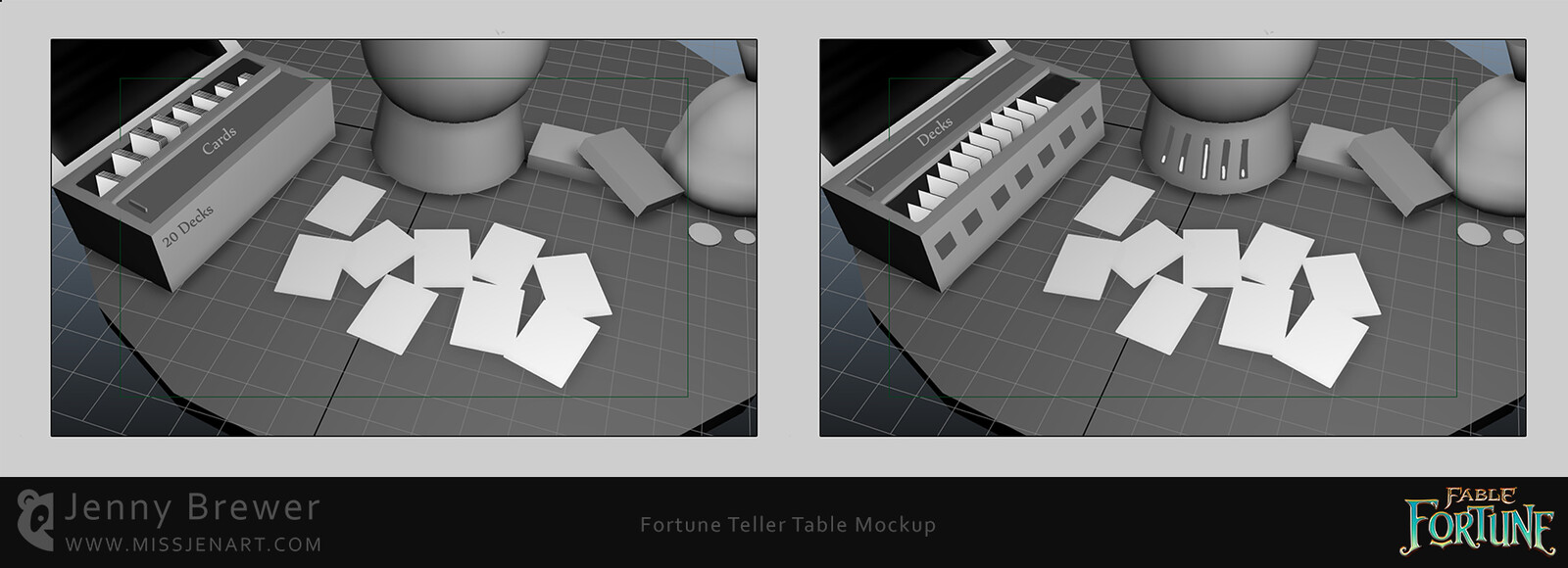 I created some 3D white boxes using Autodesk Maya to prototype my ideas along with some rough animations to help illustrate how to give some magic energy in to the cards!