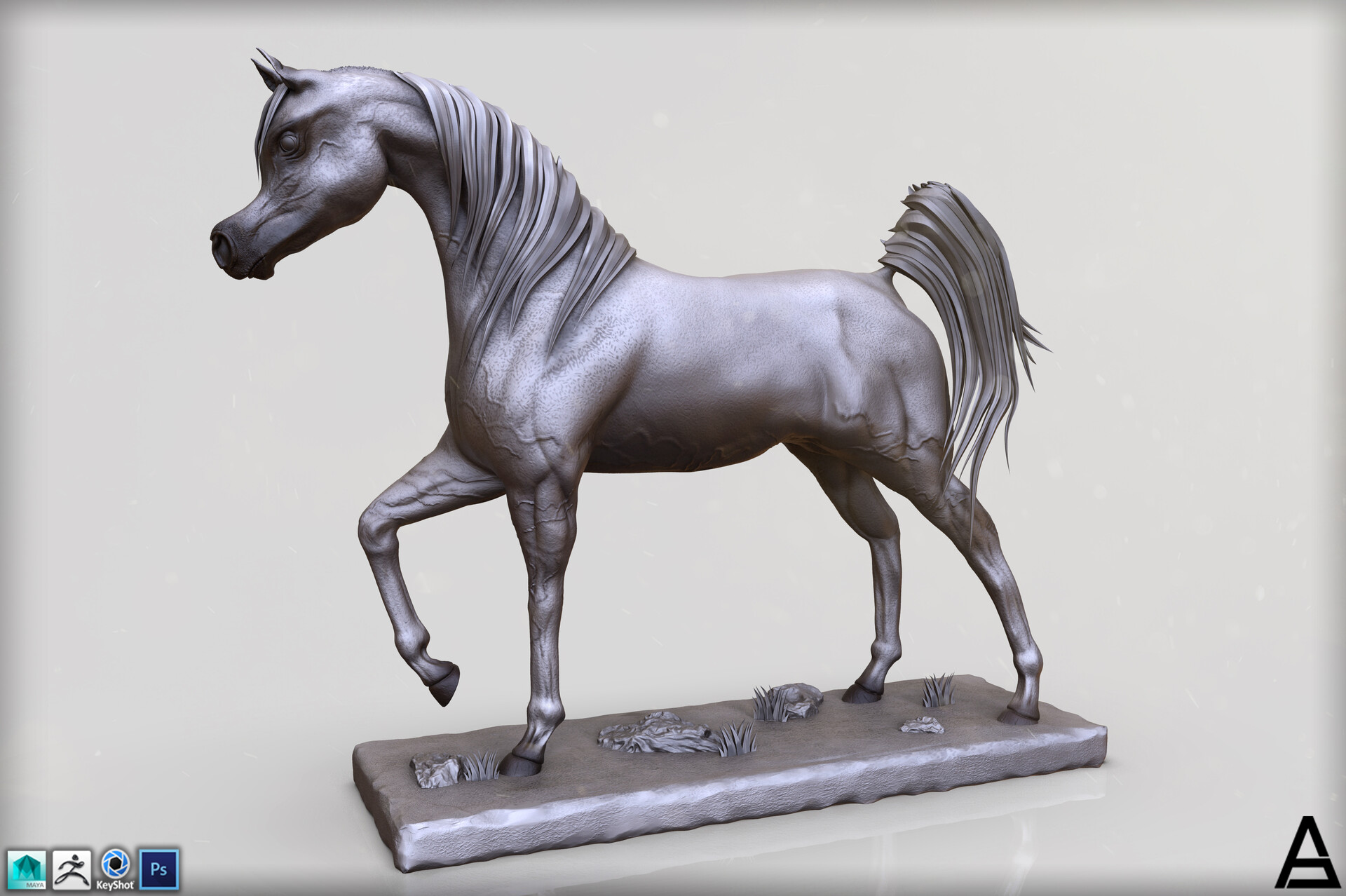 Artstation Arabian Horse Sculpture Shadi Al Abadi