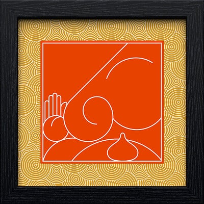 Rajesh r sawant black square frameorange line ganpati