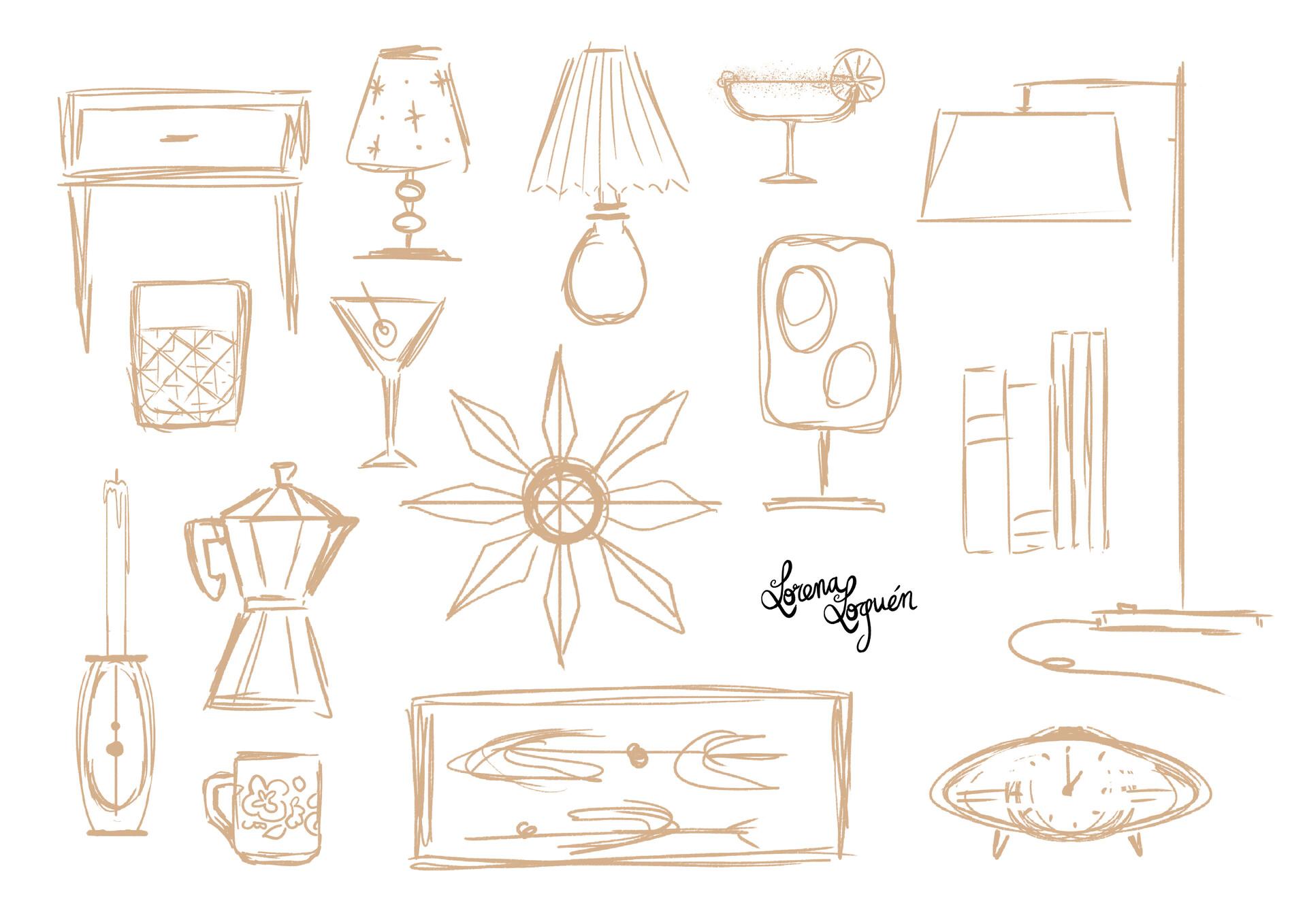 Lorena loguen mid century props sketch by lorena loguen