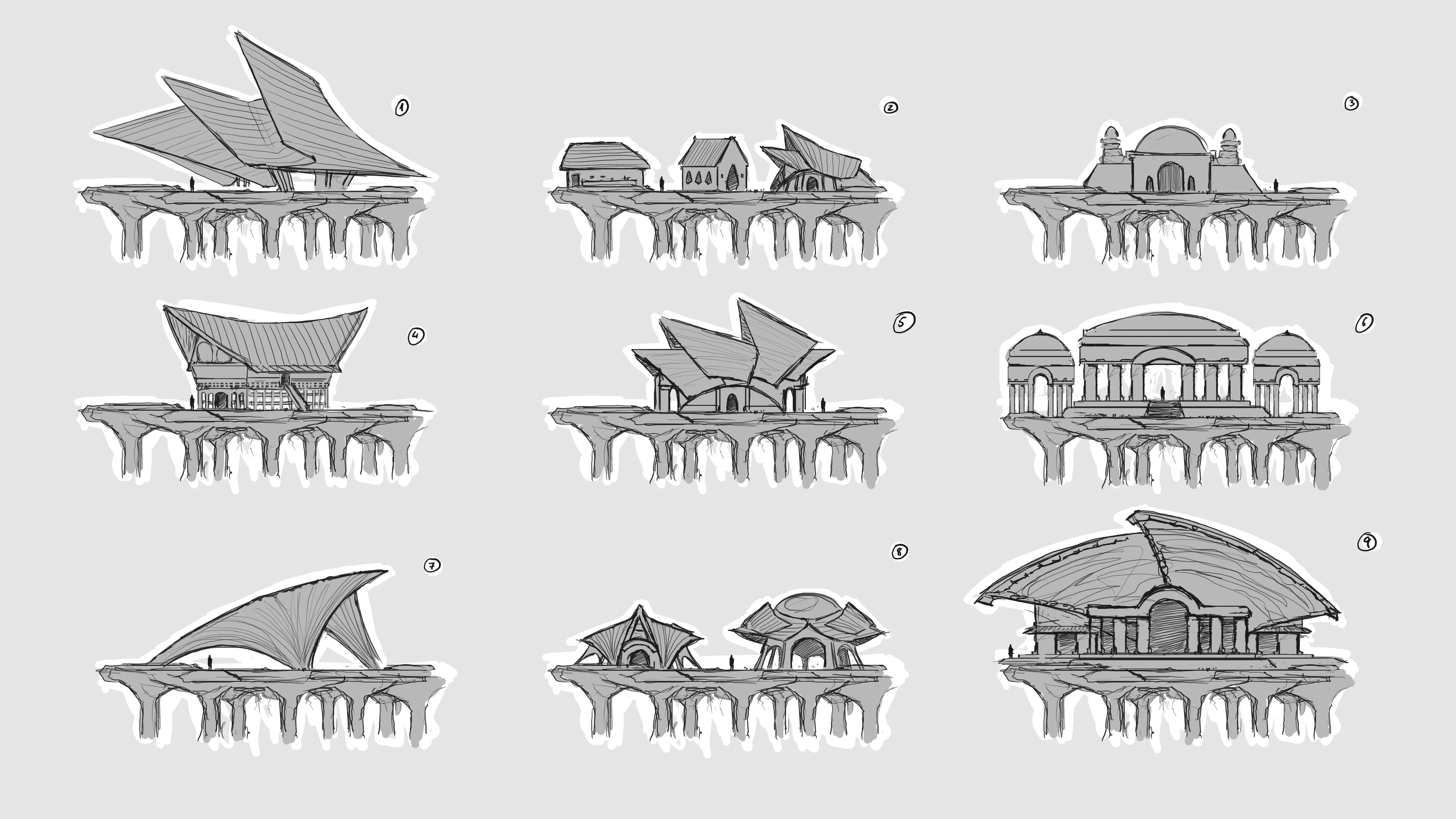 Early development sketches, searching for the style of this culture