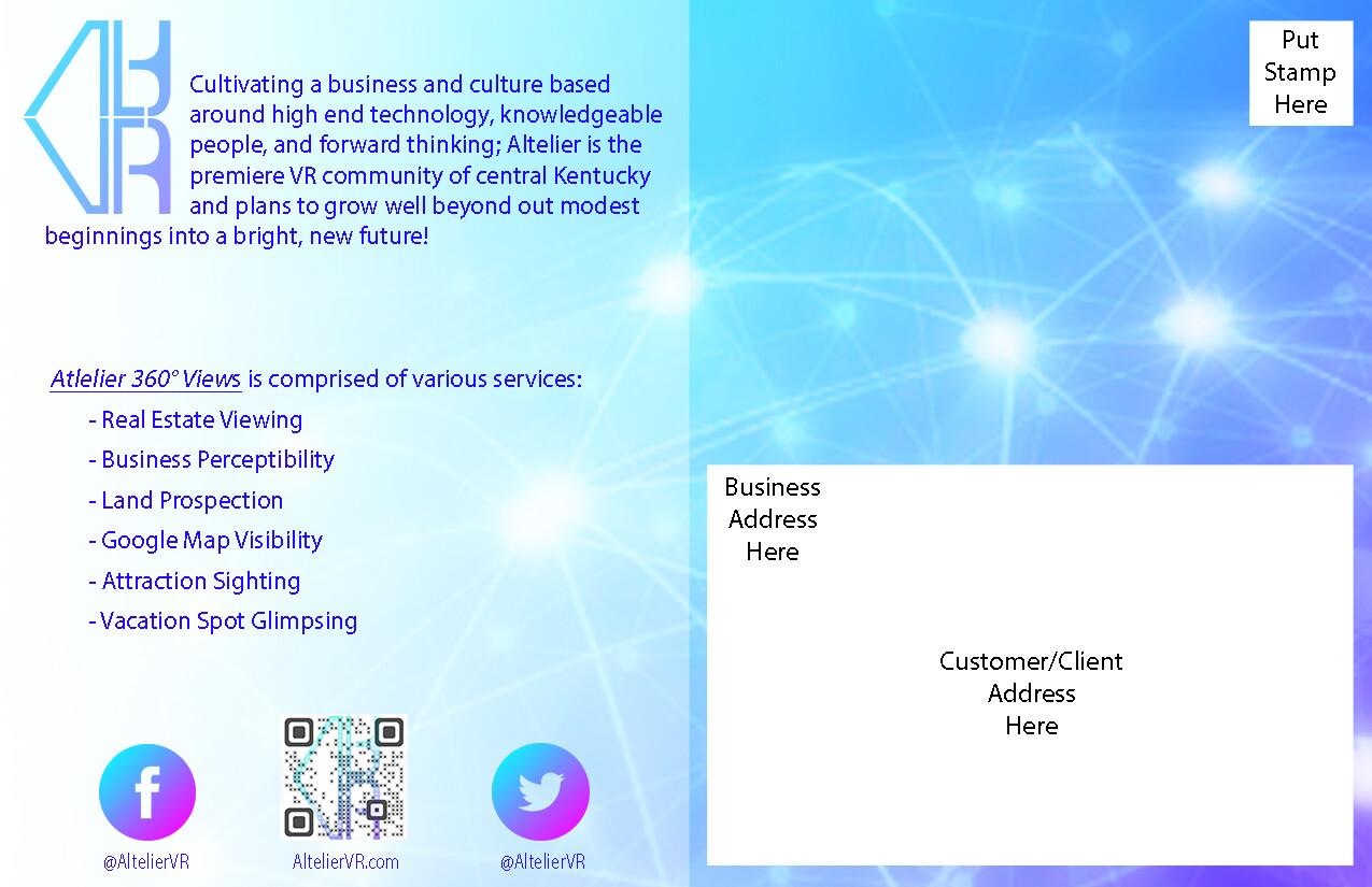 Concept postcard for Altelier VR (back side)