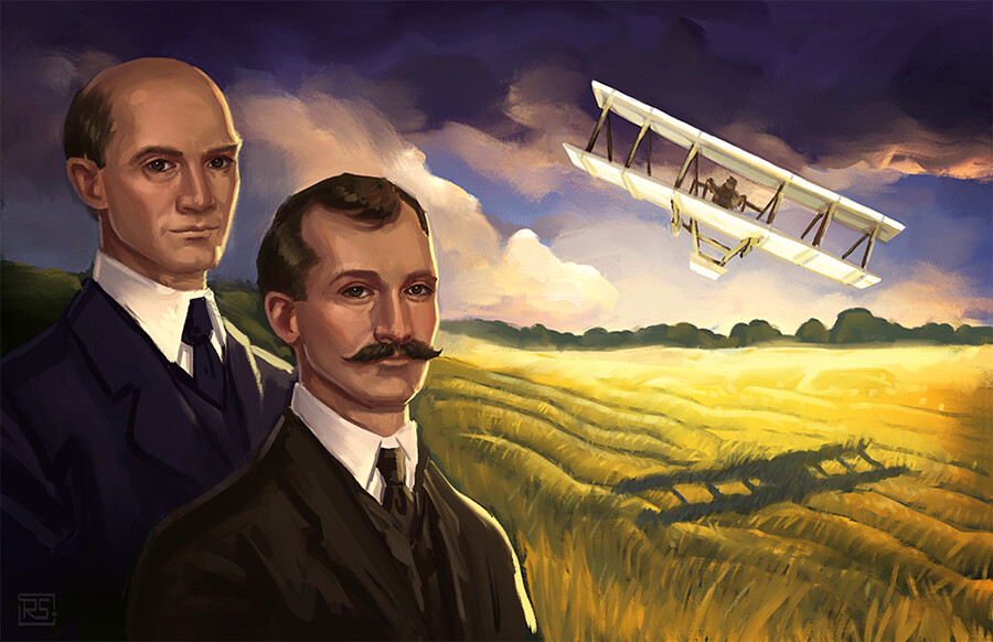 Illustration of the Wright brothers