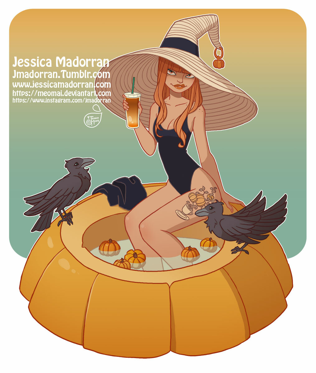 Character Design - Pumpkin Spice Summer Witch