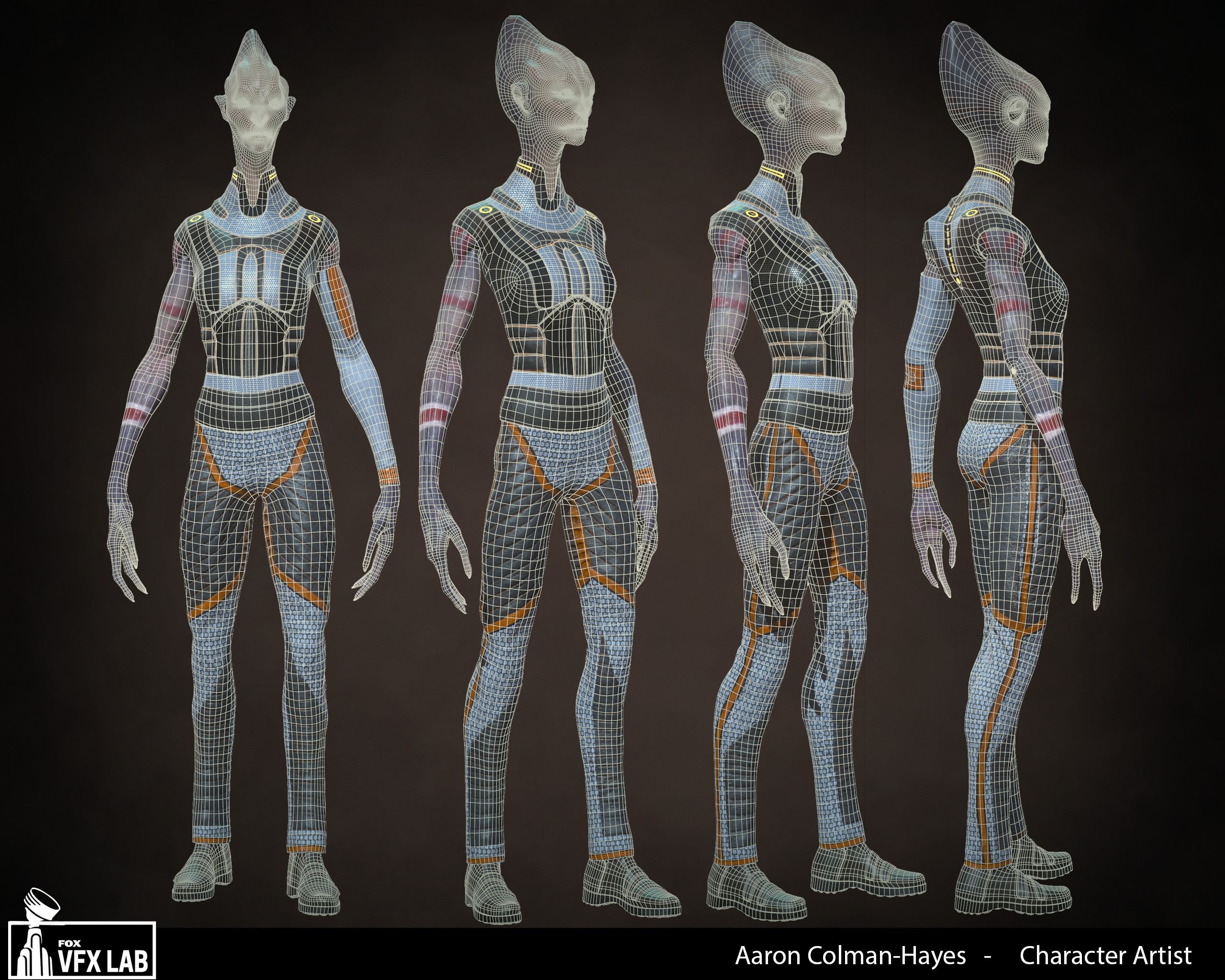 Full body turn with wireframe.