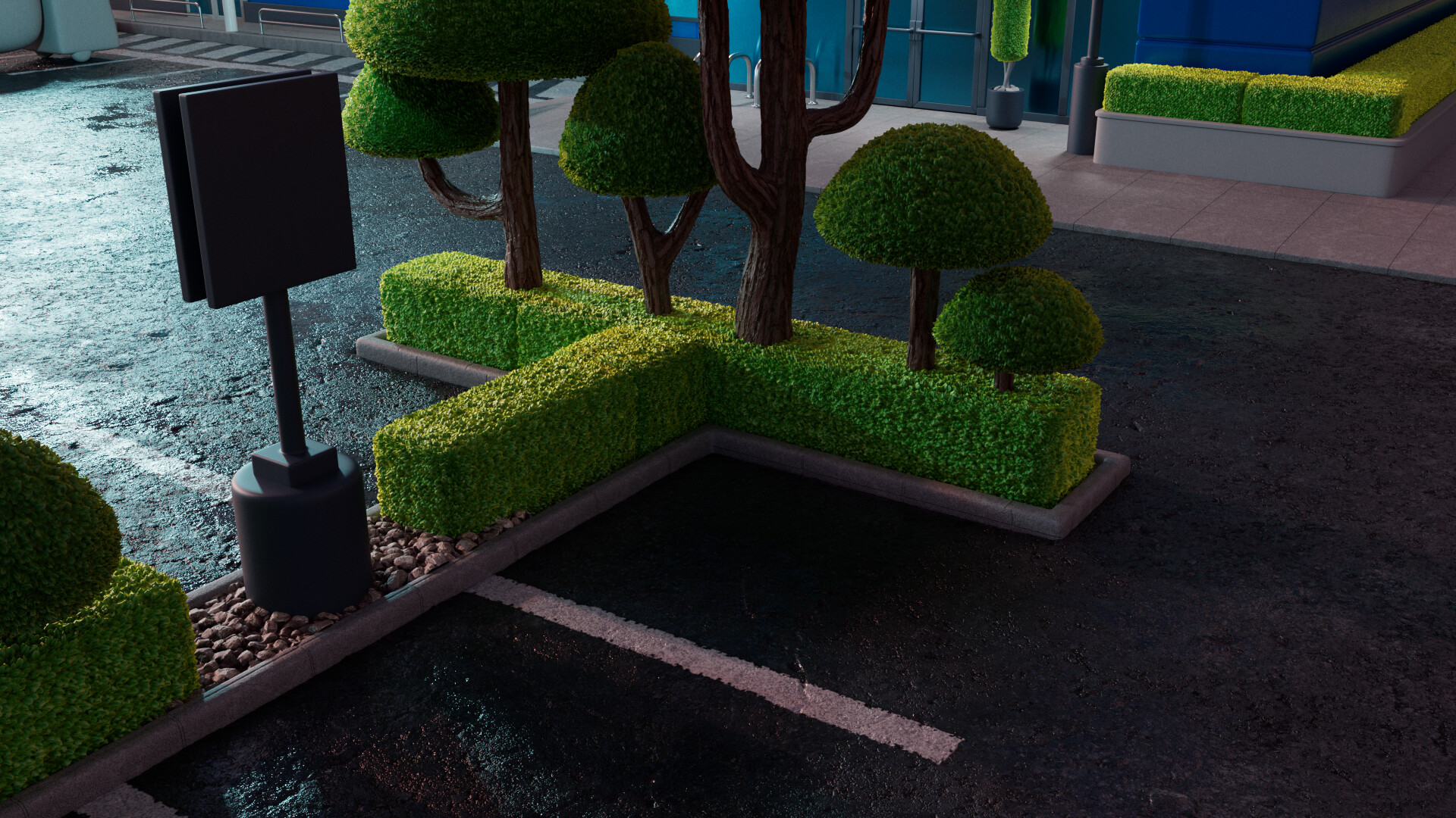 A Close Up on the parking lot assets, to check the vegetation and asphalt substance shaders.