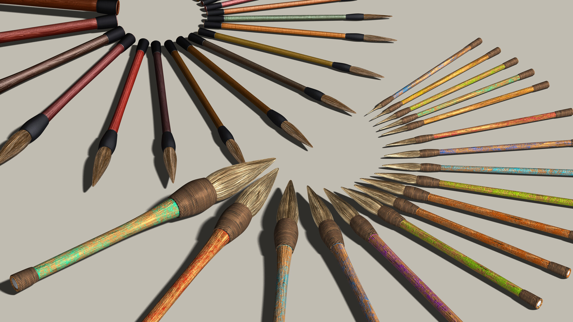 This image shows the brushes, in 17 sizes, with each of two texture variations.