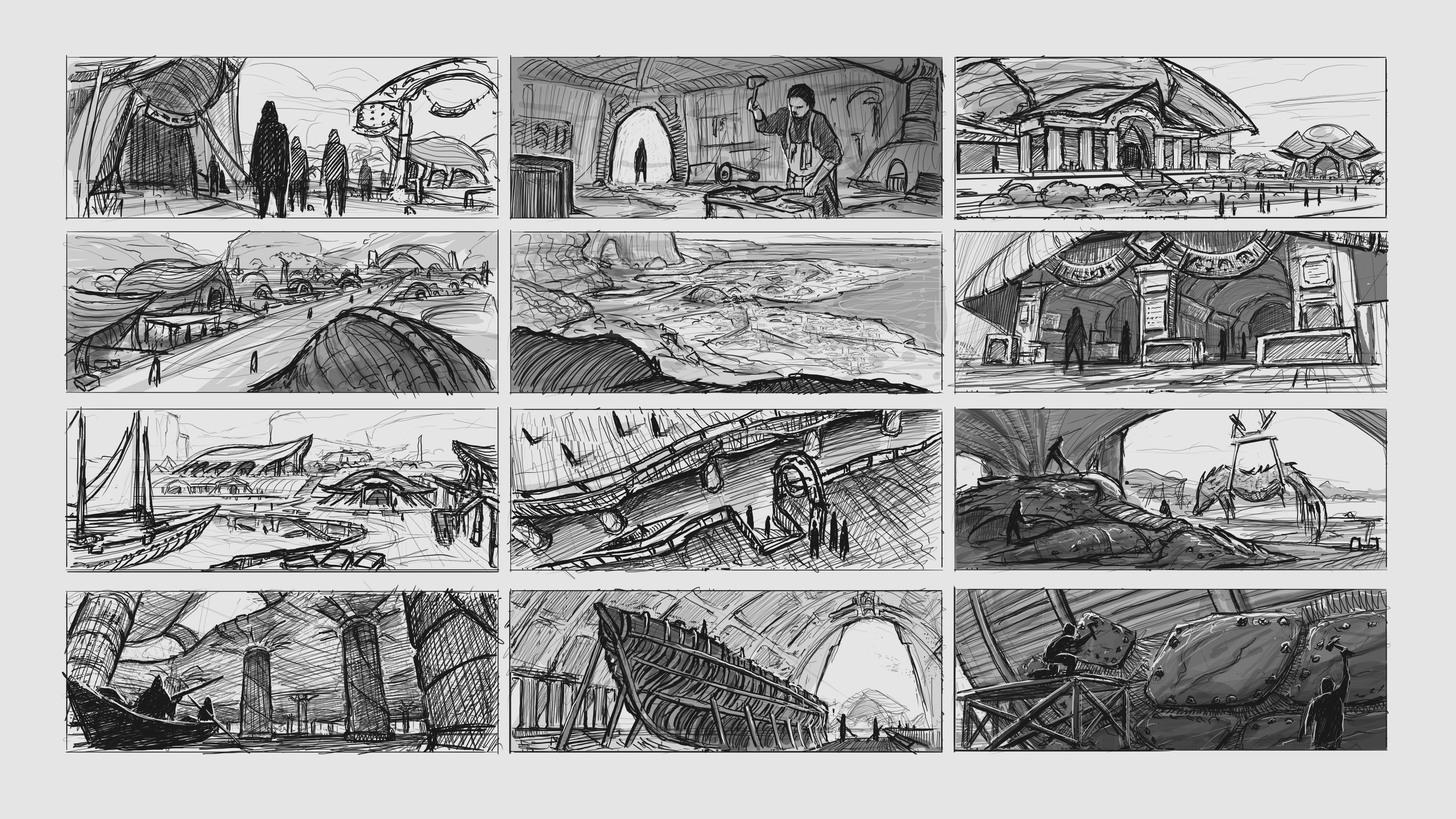 Thumbnail sketches of different shots across the city.
