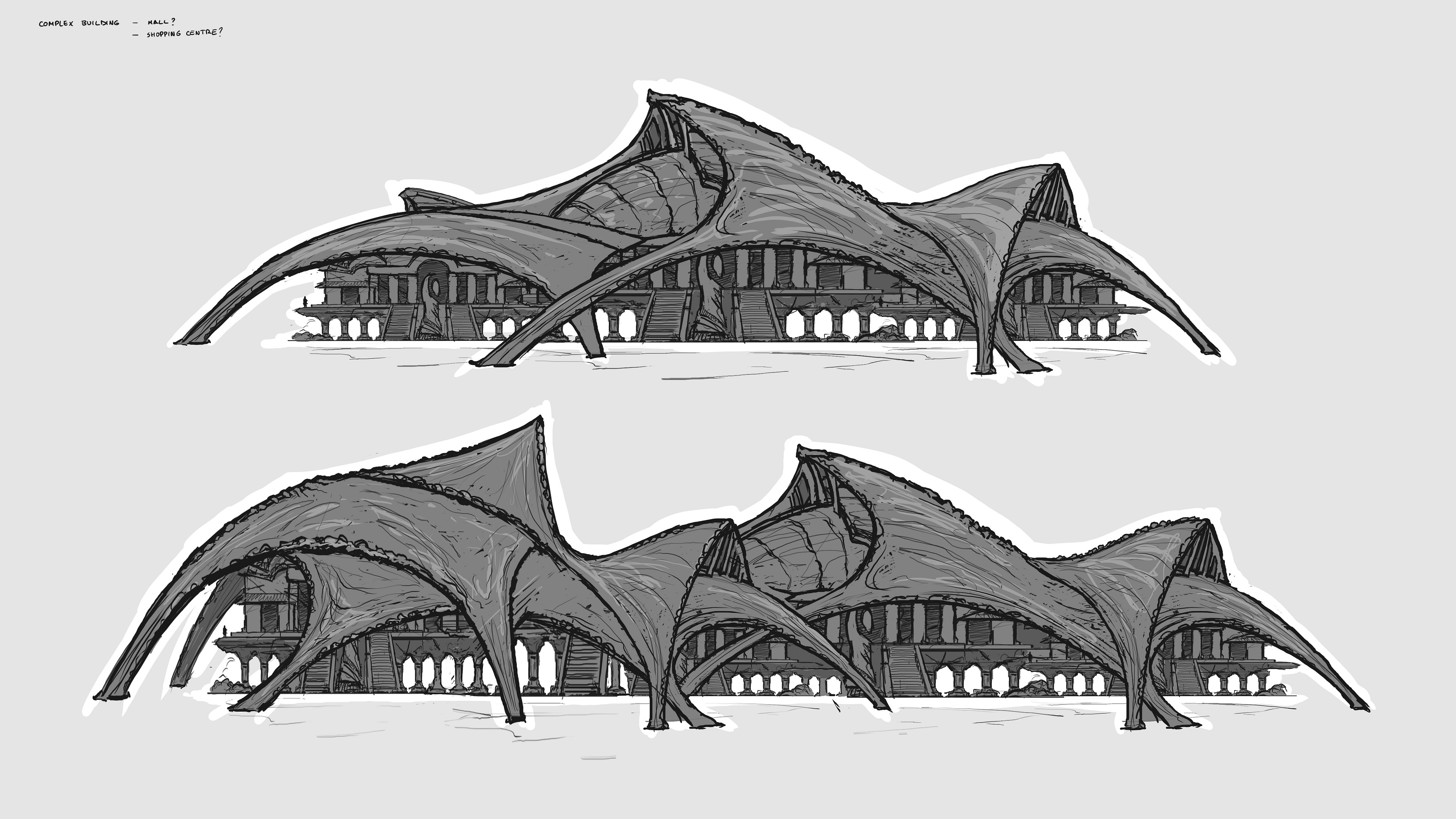 Experimenting with those shapes for an indoor market of a bigger scale.